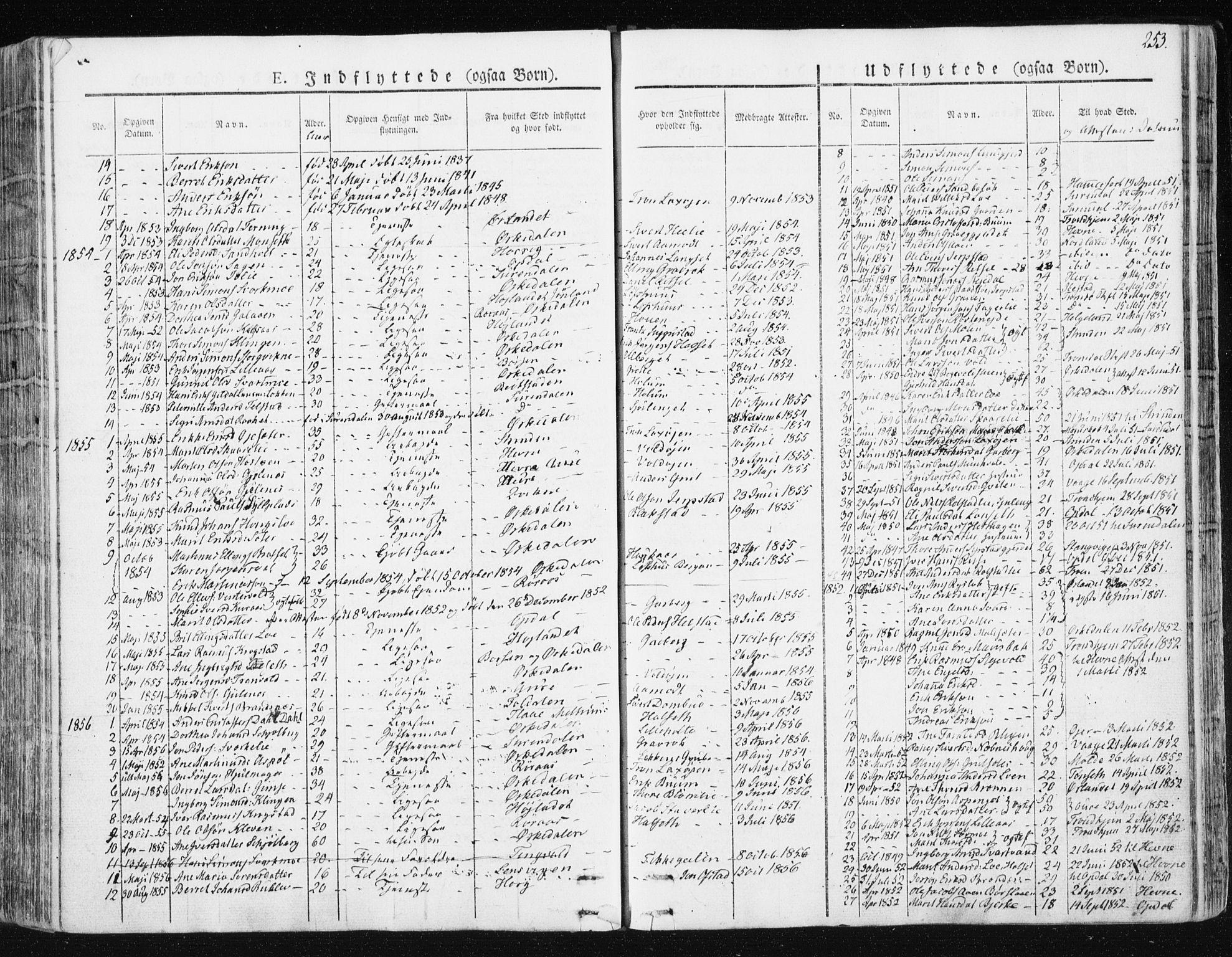 SAT, Ministerialprotokoller, klokkerbøker og fødselsregistre - Sør-Trøndelag, 672/L0855: Ministerialbok nr. 672A07, 1829-1860, s. 253