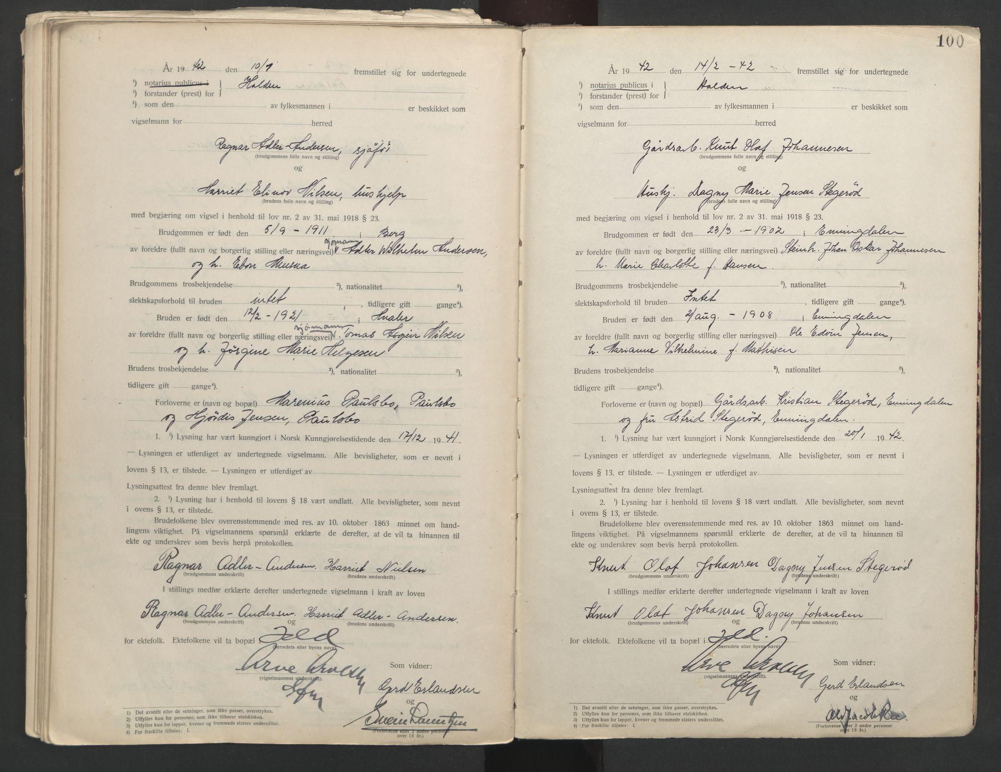 SAO, Idd og Marker sorenskriveri, L/Lc/L0001: Vigselsbøker, 1920-1942, s. 100
