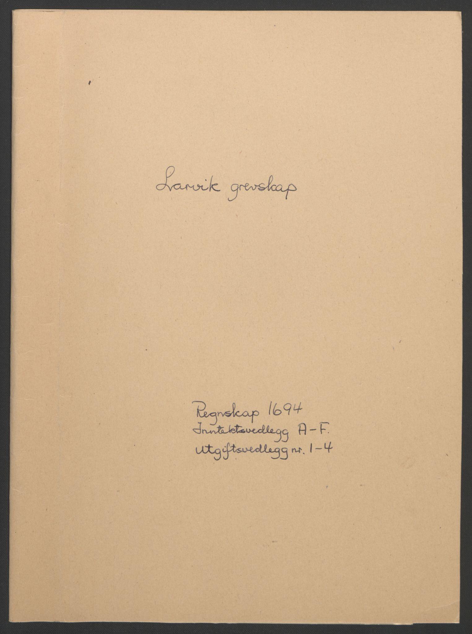 RA, Rentekammeret inntil 1814, Reviderte regnskaper, Fogderegnskap, R33/L1974: Fogderegnskap Larvik grevskap, 1693-1695, s. 74