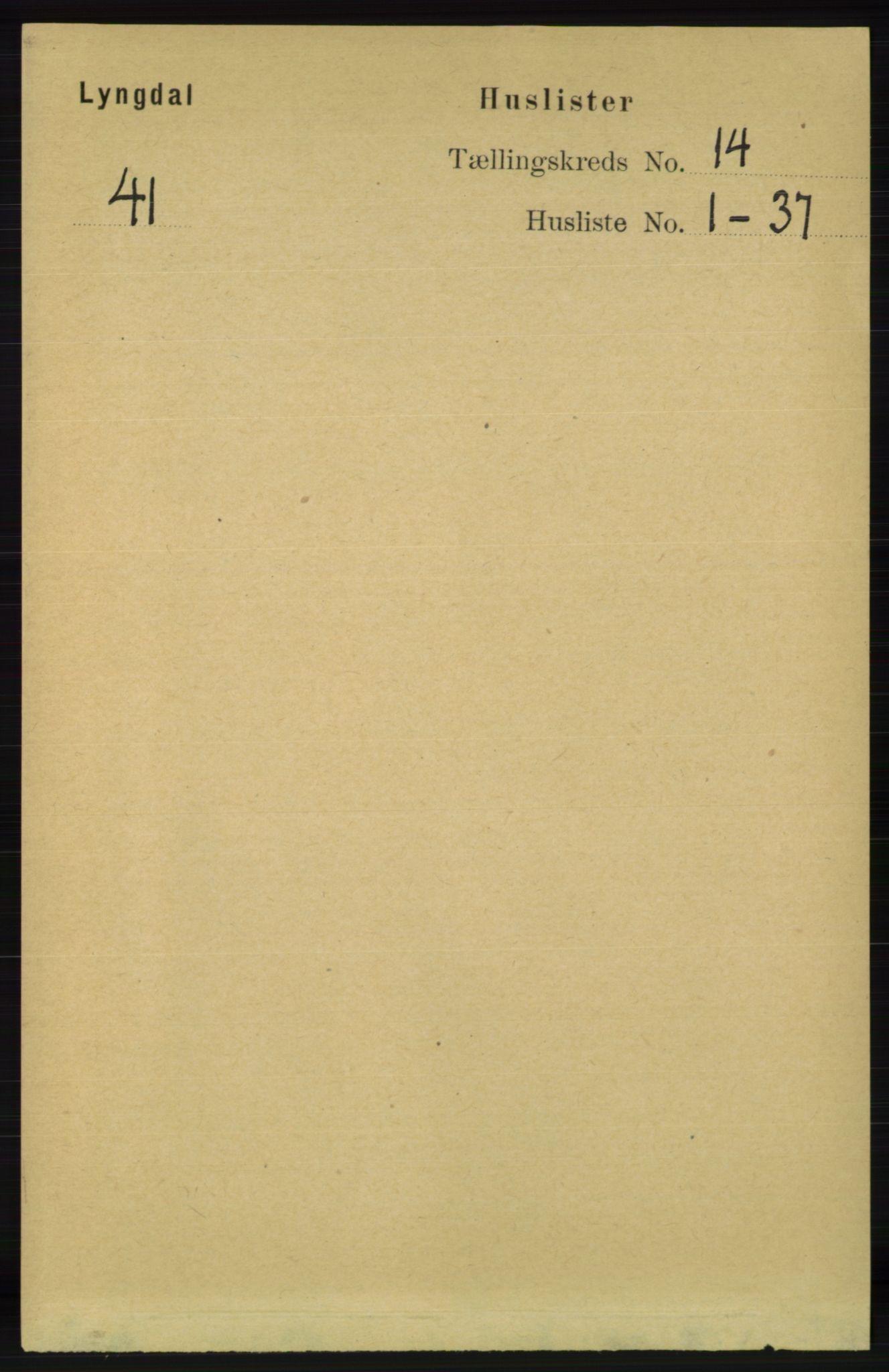 RA, Folketelling 1891 for 1032 Lyngdal herred, 1891, s. 5806