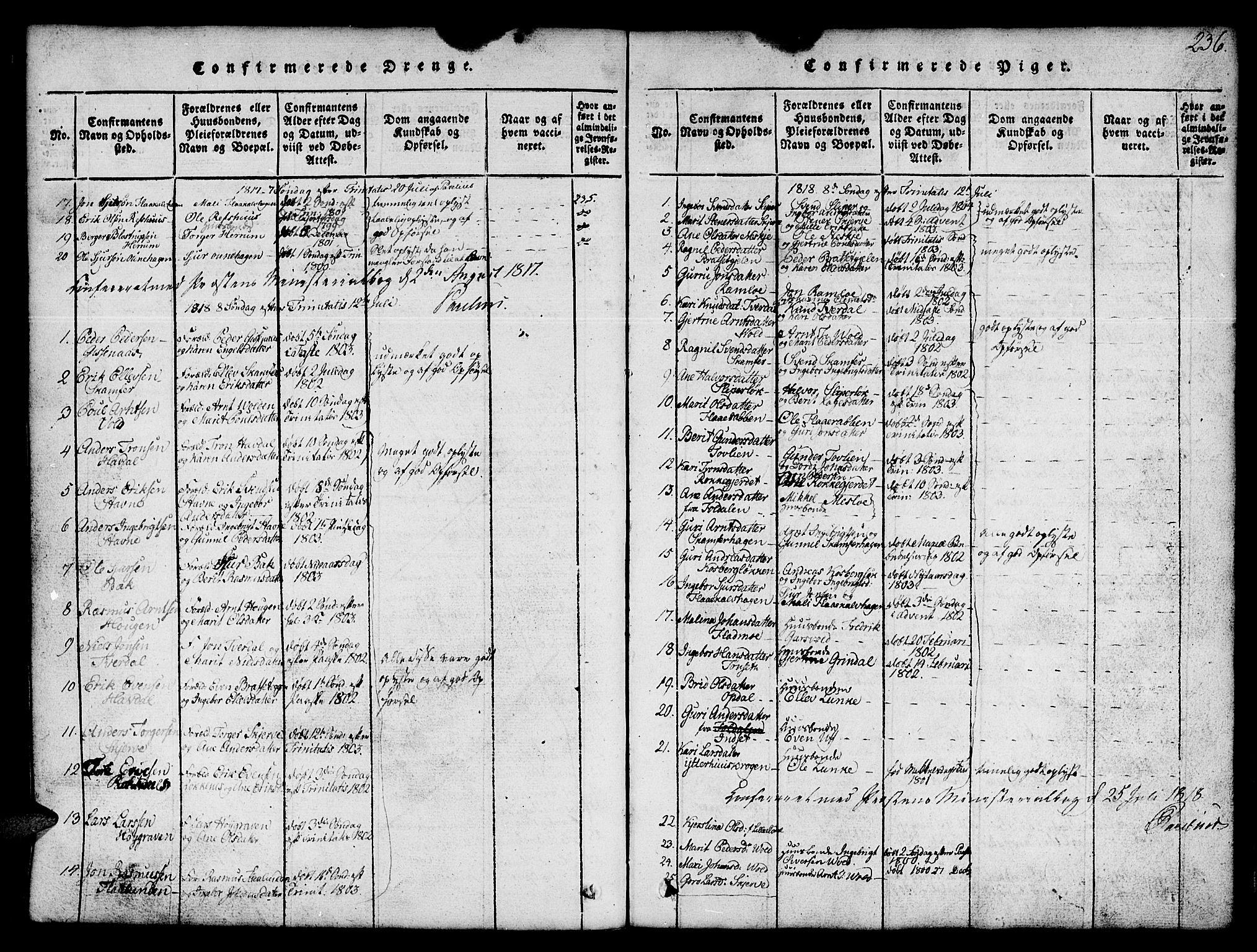 SAT, Ministerialprotokoller, klokkerbøker og fødselsregistre - Sør-Trøndelag, 674/L0874: Klokkerbok nr. 674C01, 1816-1860, s. 236