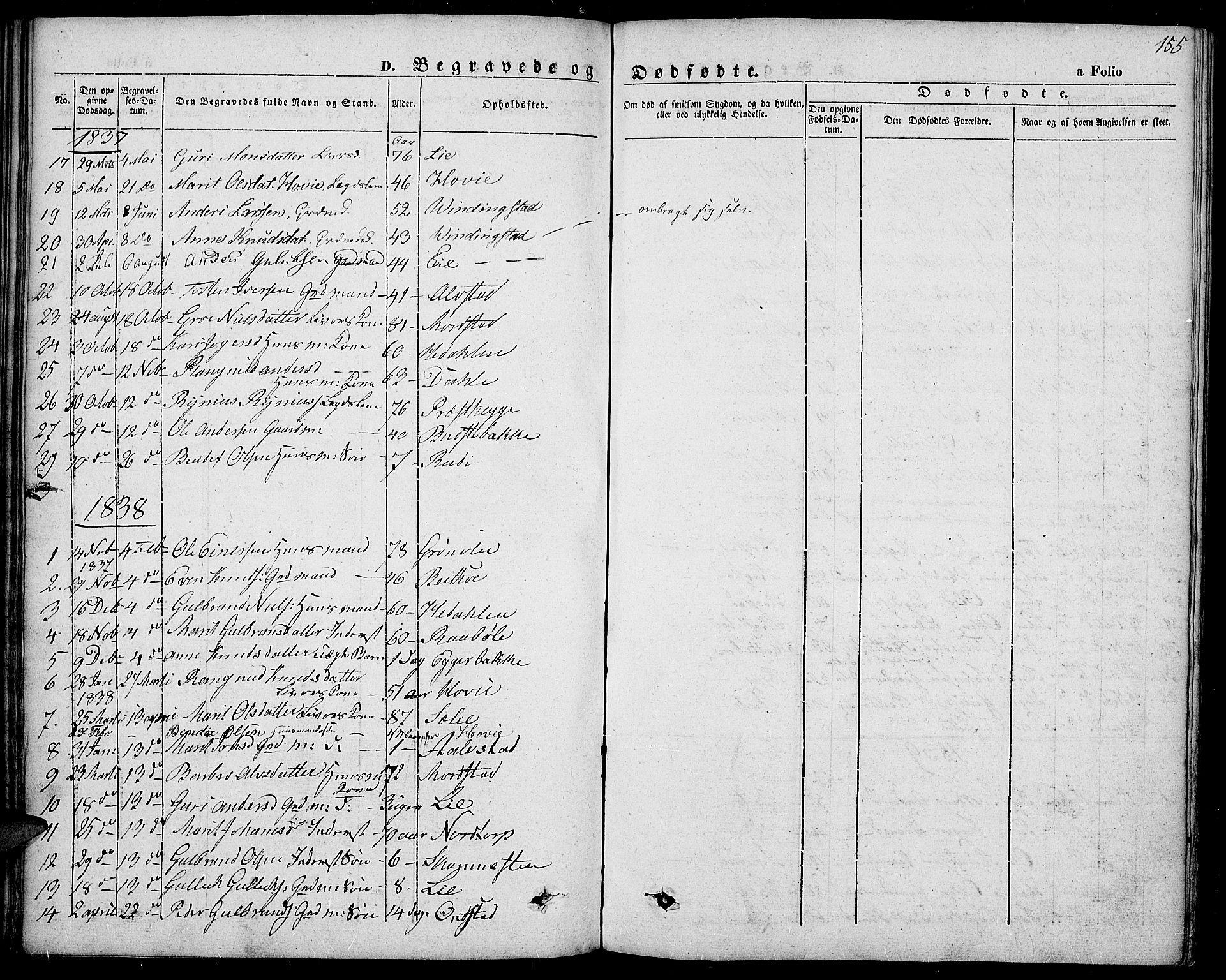 SAH, Slidre prestekontor, Ministerialbok nr. 4, 1831-1848, s. 155
