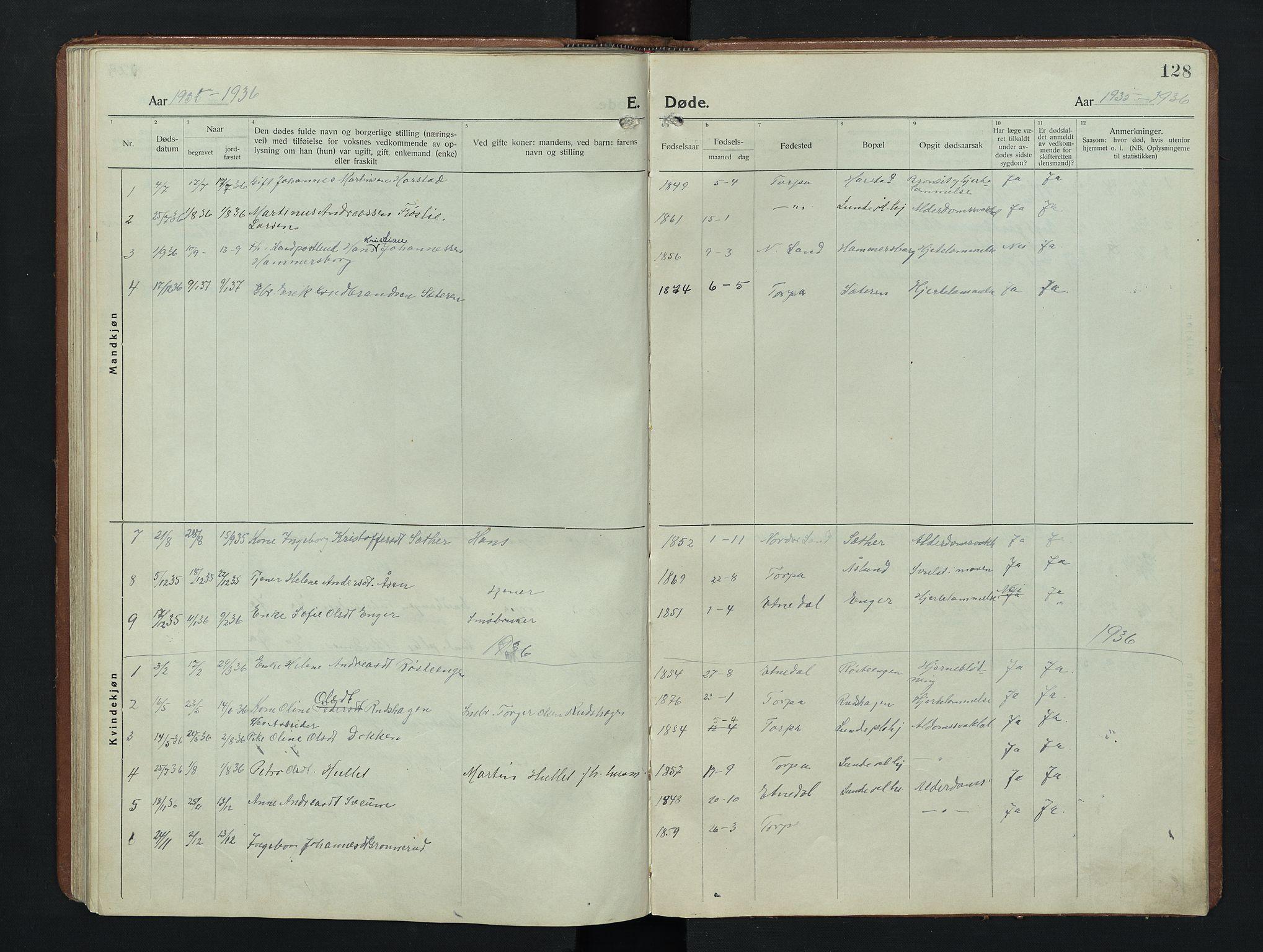 SAH, Nordre Land prestekontor, Klokkerbok nr. 9, 1921-1956, s. 128