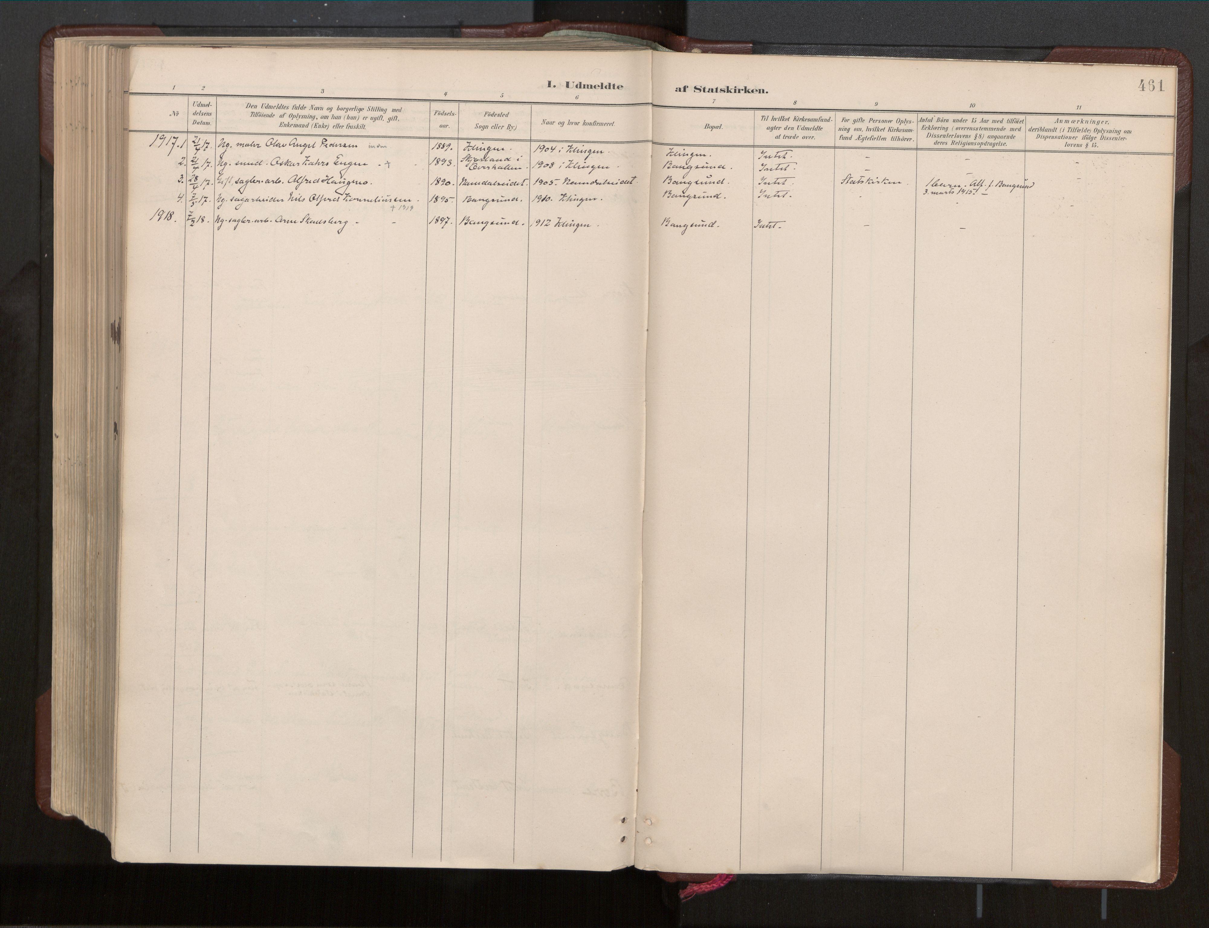 SAT, Ministerialprotokoller, klokkerbøker og fødselsregistre - Nord-Trøndelag, 770/L0589: Ministerialbok nr. 770A03, 1887-1929, s. 461