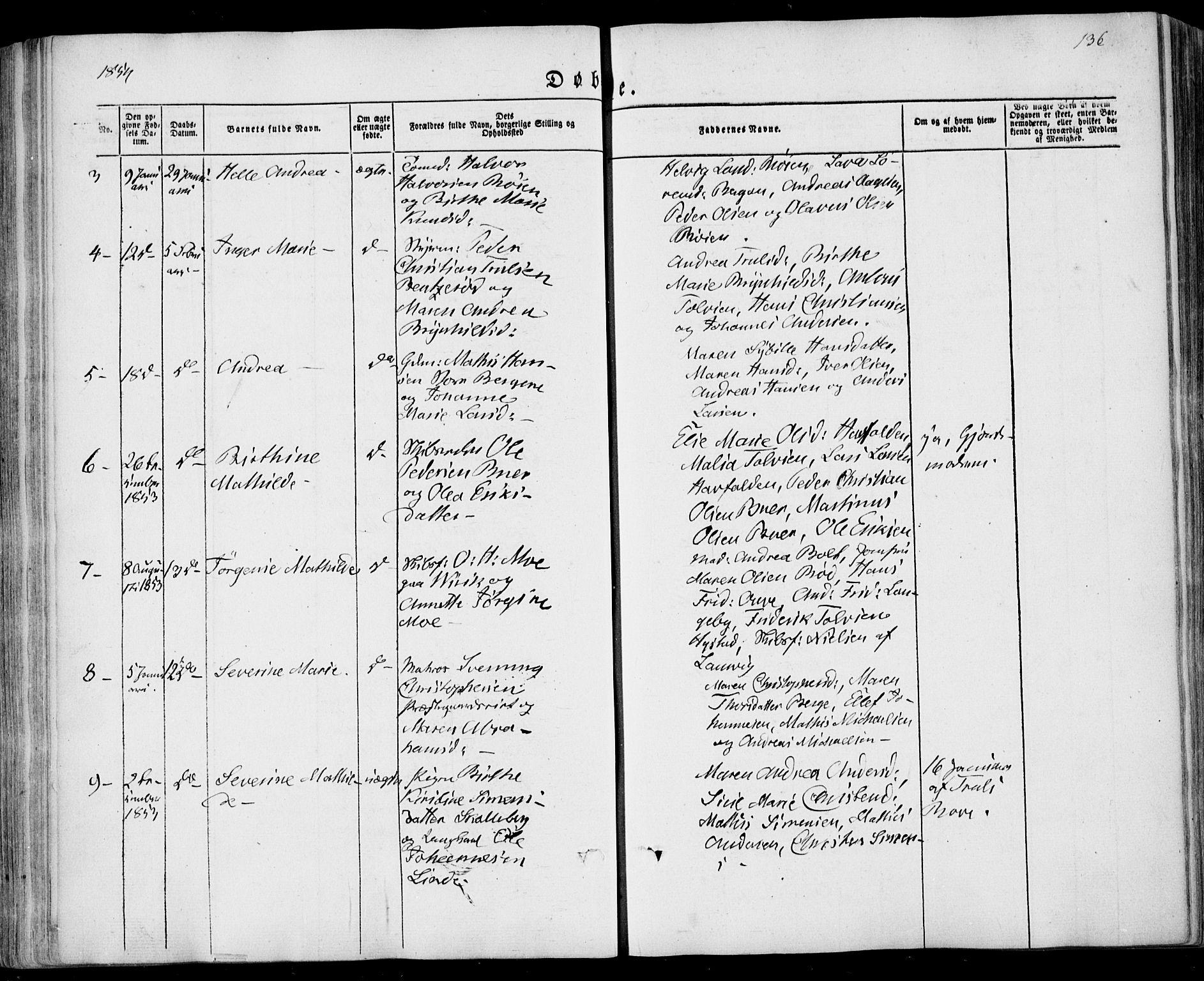 SAKO, Sandar kirkebøker, F/Fa/L0006: Ministerialbok nr. 6, 1847-1860, s. 136