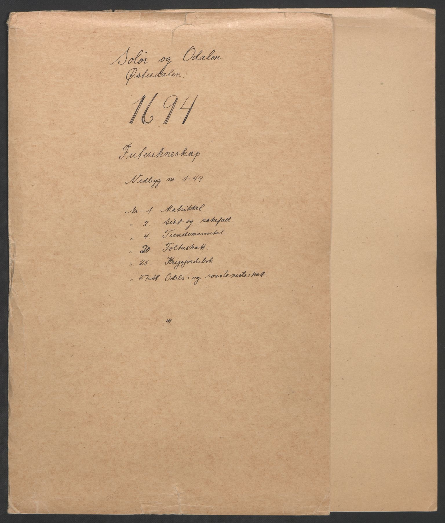 RA, Rentekammeret inntil 1814, Reviderte regnskaper, Fogderegnskap, R13/L0832: Fogderegnskap Solør, Odal og Østerdal, 1694, s. 3