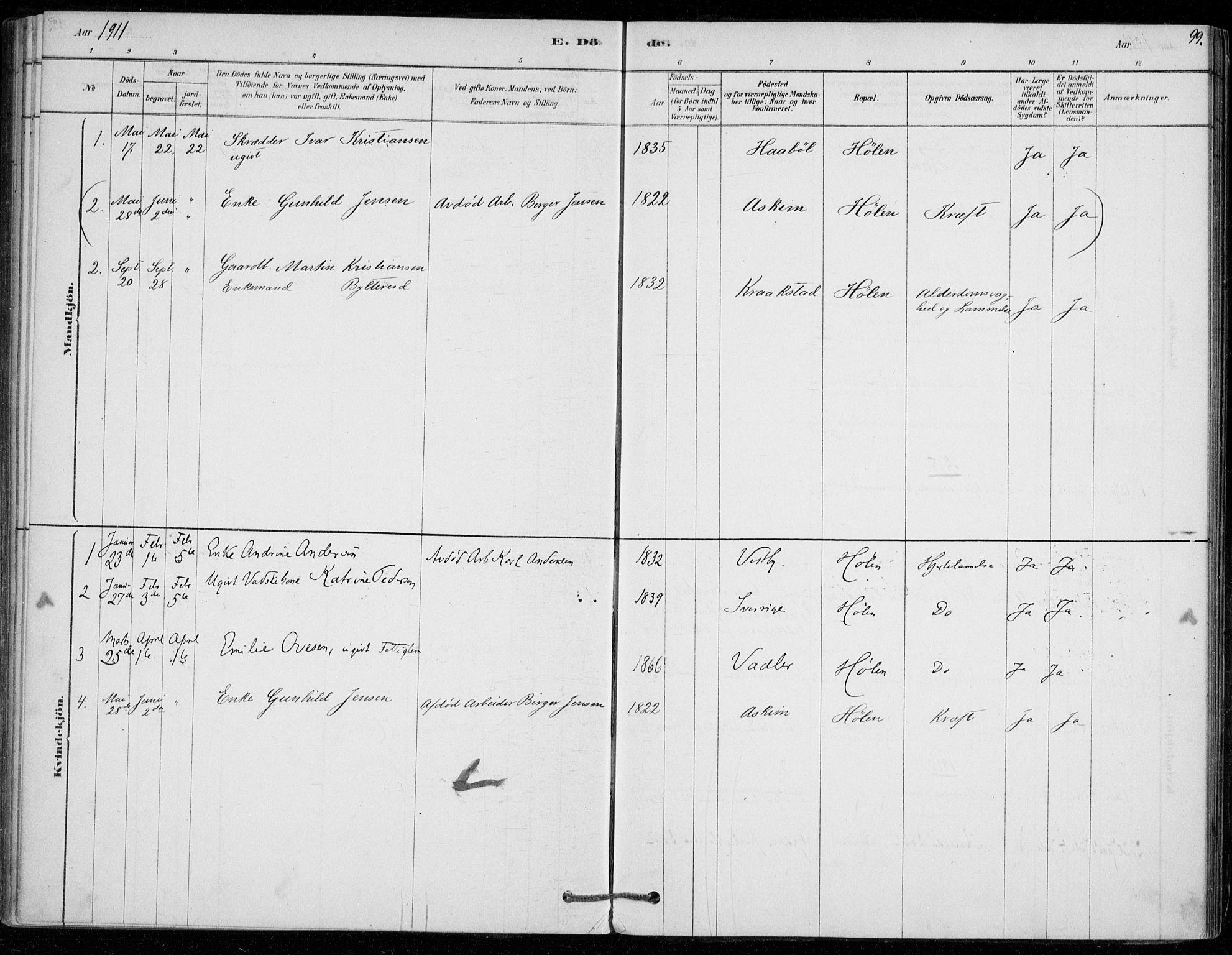 SAO, Vestby prestekontor Kirkebøker, F/Fe/L0001: Ministerialbok nr. V 1, 1878-1931, s. 99