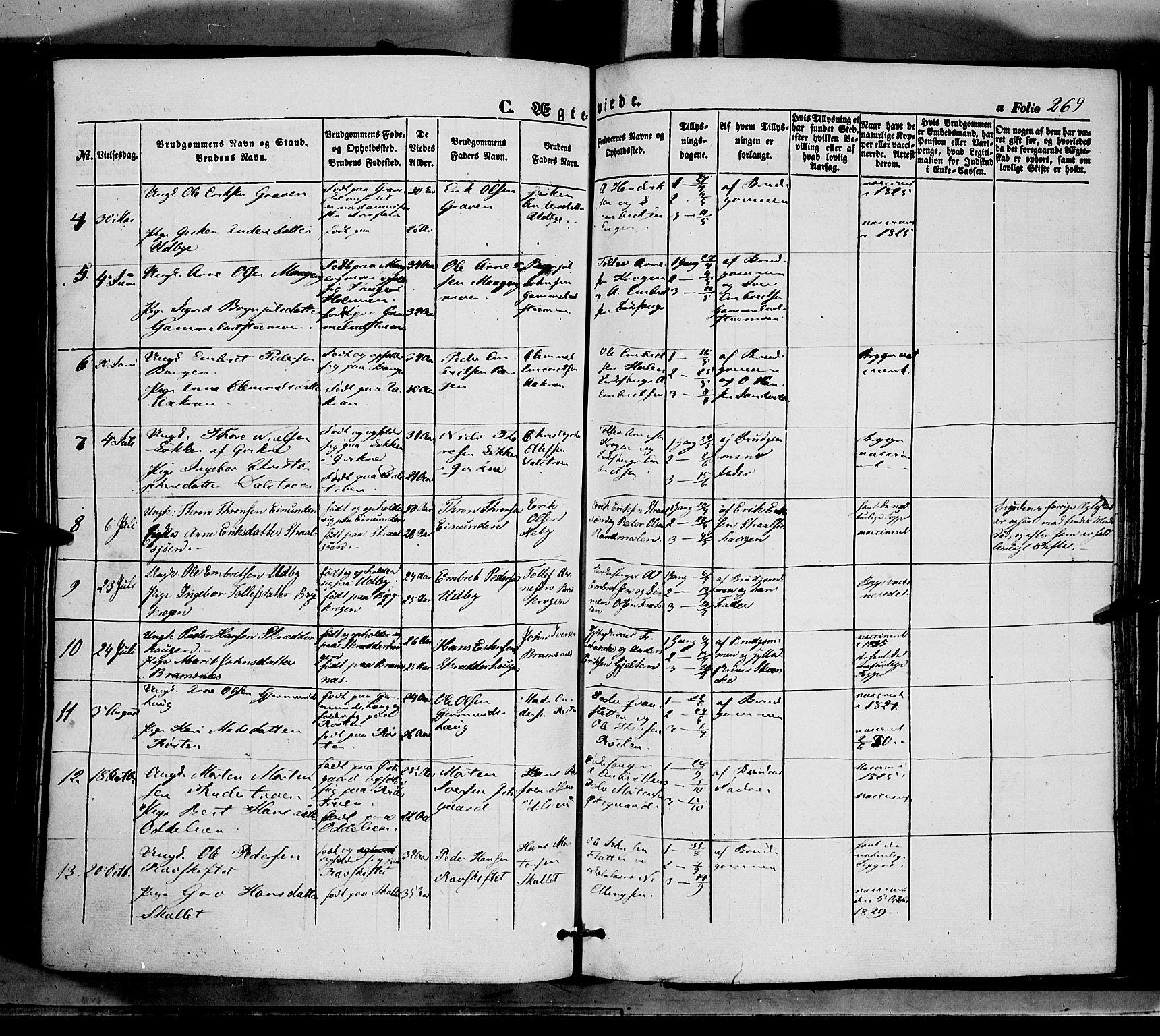 SAH, Tynset prestekontor, Ministerialbok nr. 20, 1848-1862, s. 269