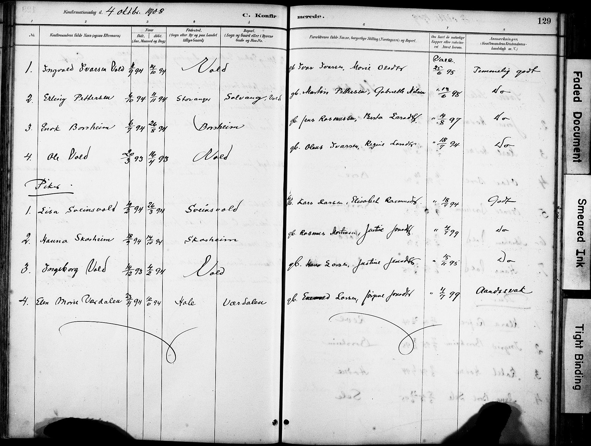 SAST, Klepp sokneprestkontor, 30BA/L0008: Ministerialbok nr. A 9, 1886-1919, s. 129