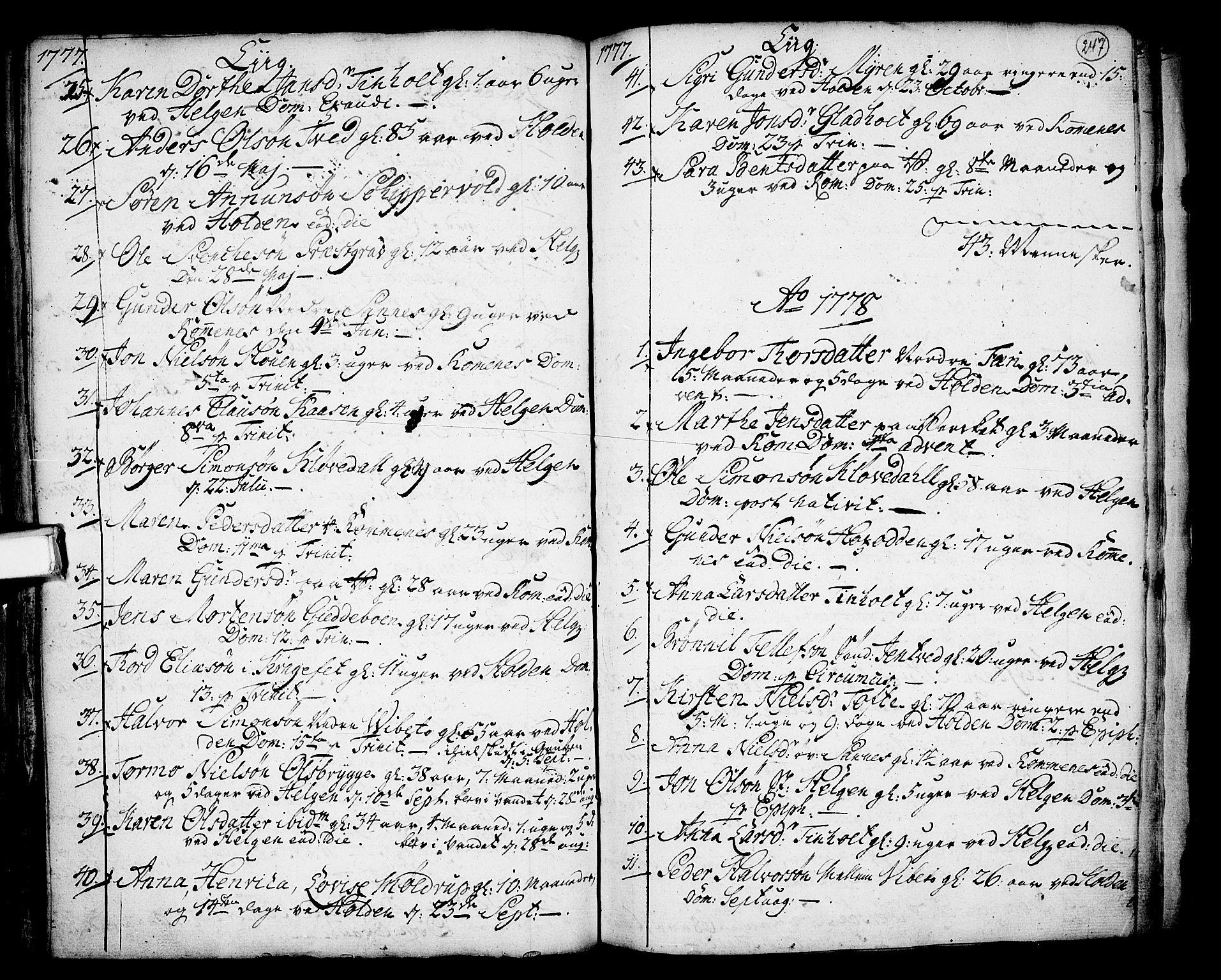 SAKO, Holla kirkebøker, F/Fa/L0001: Ministerialbok nr. 1, 1717-1779, s. 247