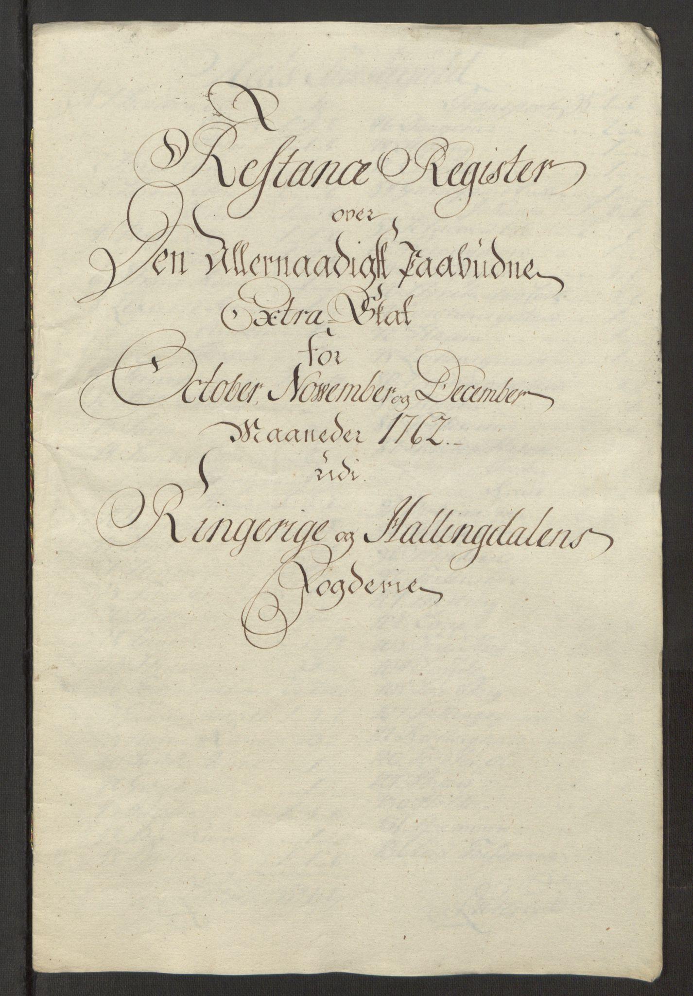 RA, Rentekammeret inntil 1814, Reviderte regnskaper, Fogderegnskap, R23/L1565: Ekstraskatten Ringerike og Hallingdal, 1762-1763, s. 333