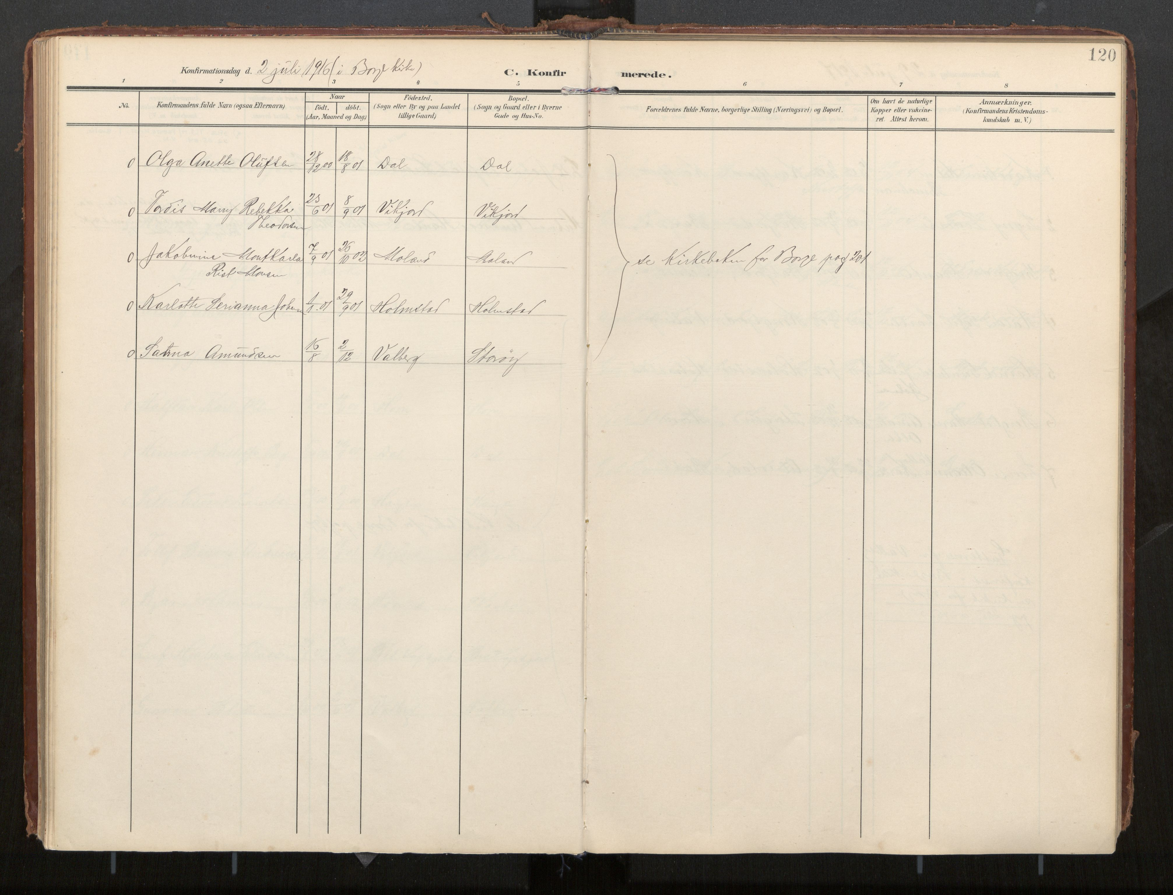 SAT, Ministerialprotokoller, klokkerbøker og fødselsregistre - Nordland, 884/L1194: Ministerialbok nr. 884A02, 1906-1937, s. 120