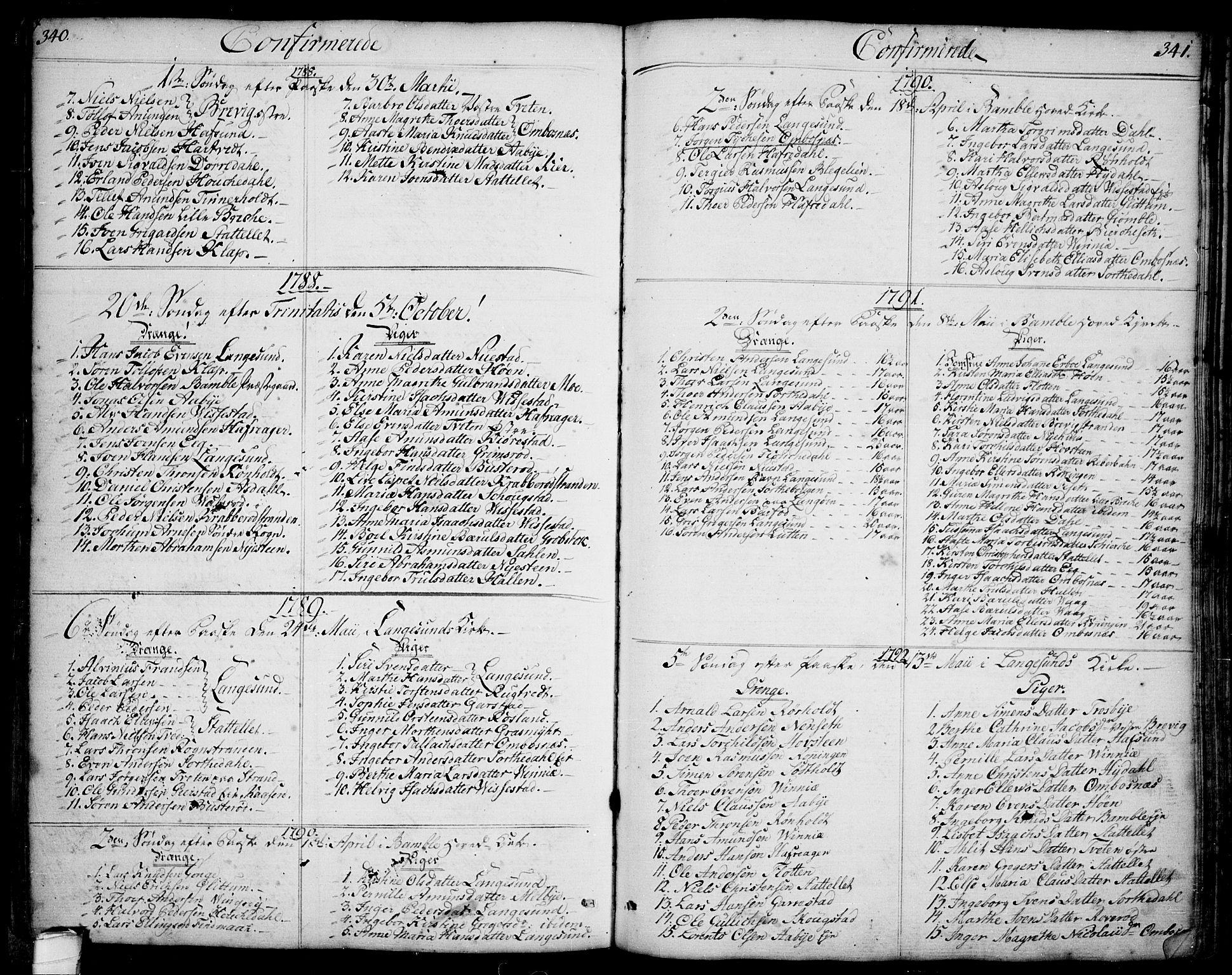SAKO, Bamble kirkebøker, F/Fa/L0002: Ministerialbok nr. I 2, 1775-1814, s. 340-341