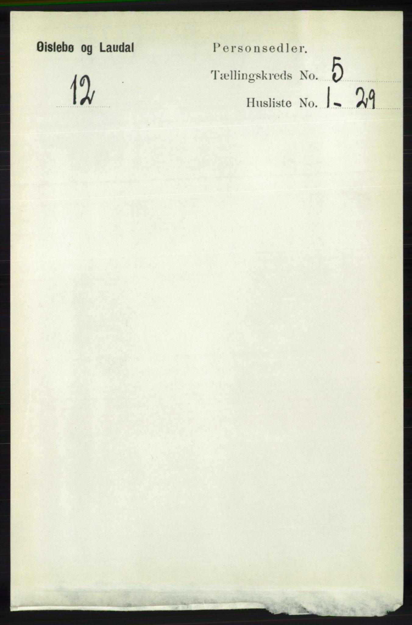RA, Folketelling 1891 for 1021 Øyslebø og Laudal herred, 1891, s. 1337