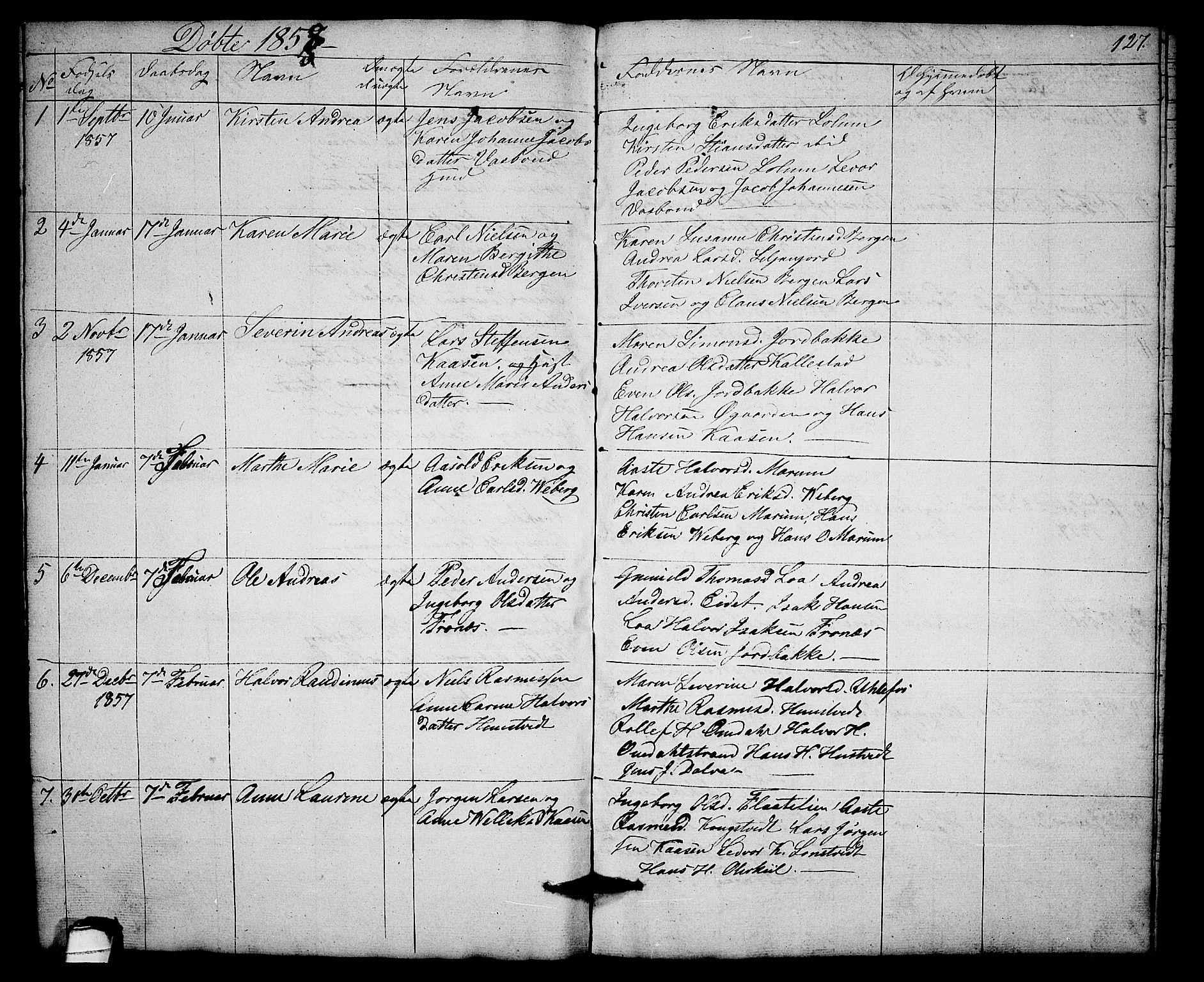 SAKO, Solum kirkebøker, G/Gb/L0001: Klokkerbok nr. II 1, 1848-1859, s. 127
