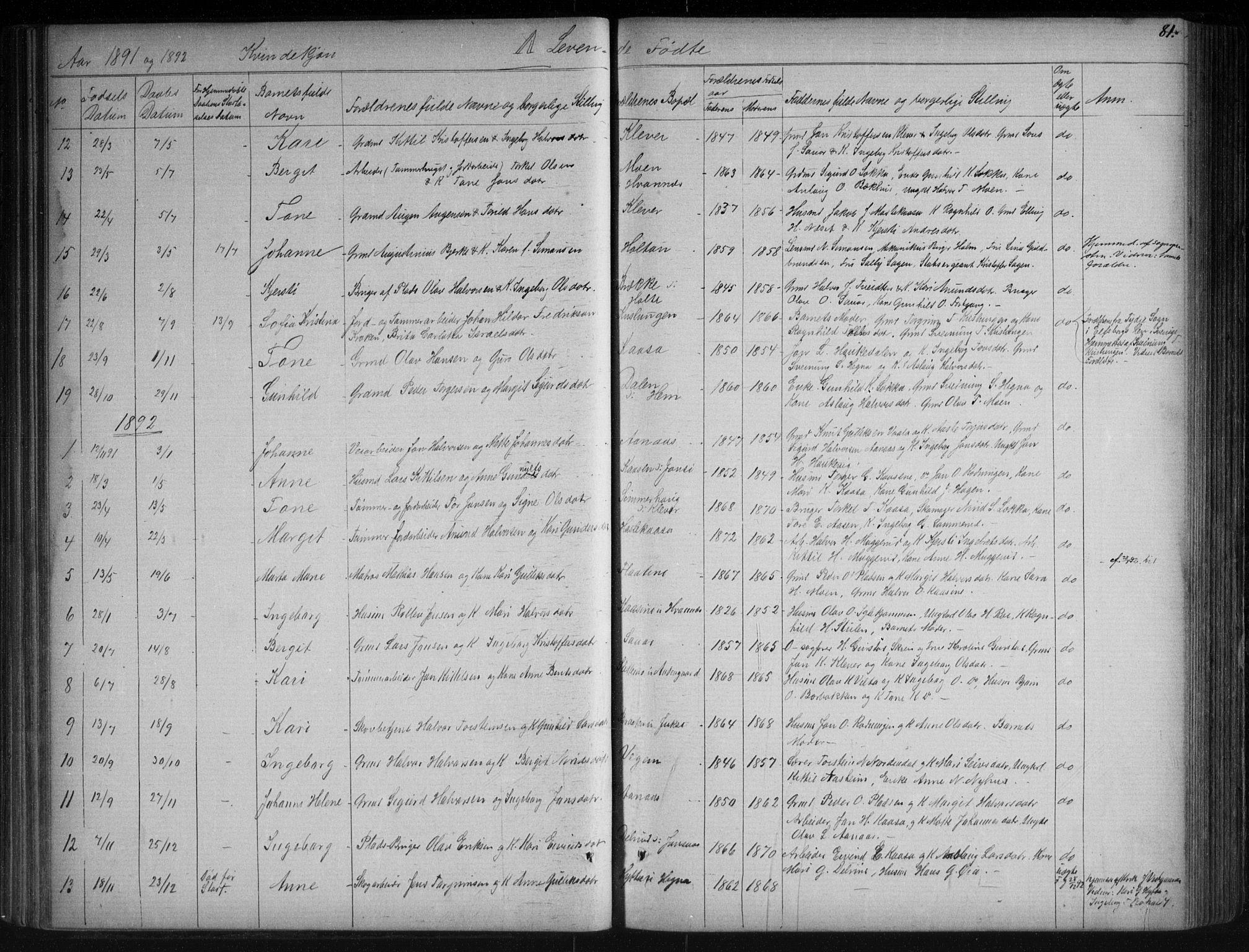 SAKO, Sauherad kirkebøker, G/Ga/L0003: Klokkerbok nr. I 3, 1866-1905, s. 81