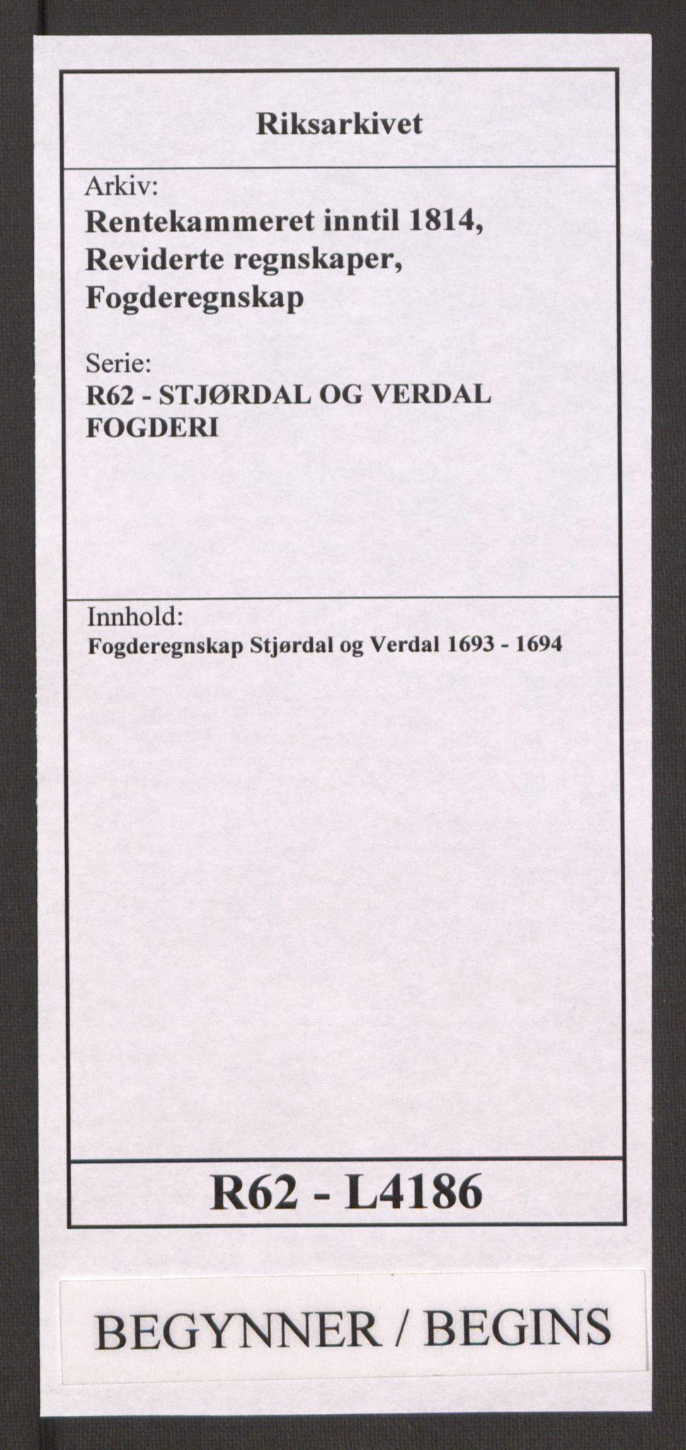 RA, Rentekammeret inntil 1814, Reviderte regnskaper, Fogderegnskap, R62/L4186: Fogderegnskap Stjørdal og Verdal, 1693-1694, s. 1