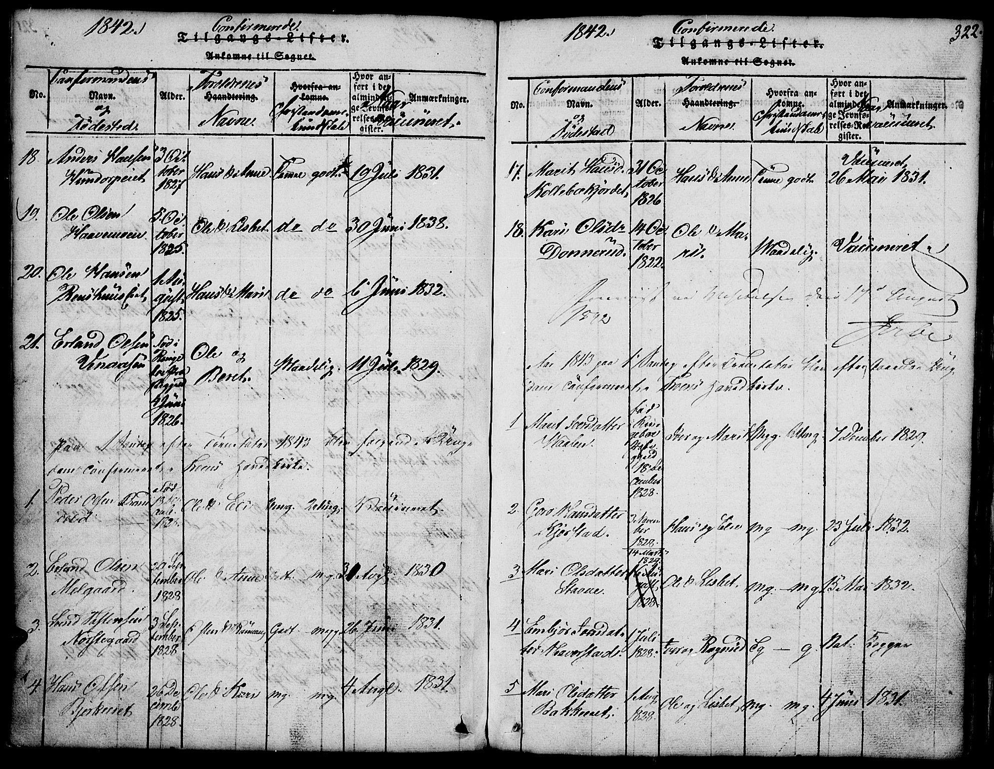 SAH, Fron prestekontor, H/Ha/Hab/L0001: Klokkerbok nr. 1, 1816-1843, s. 322