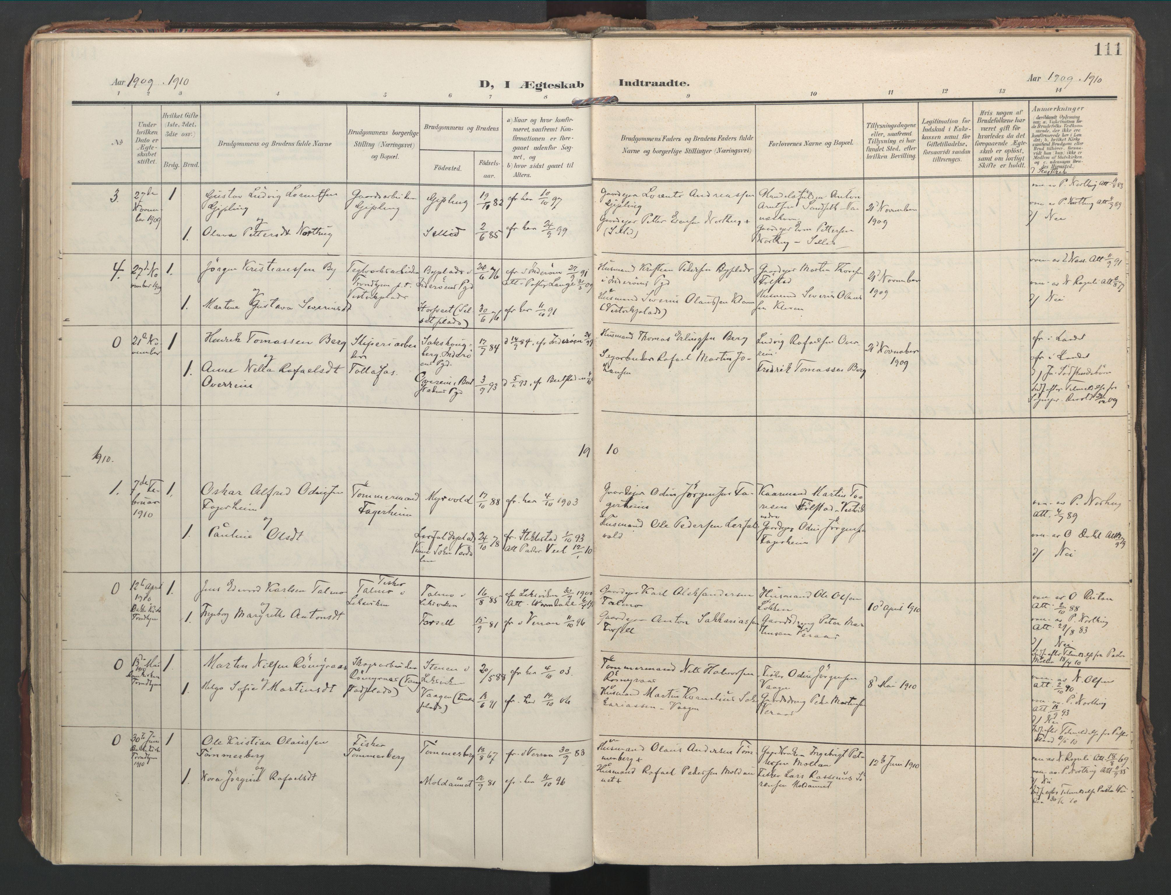SAT, Ministerialprotokoller, klokkerbøker og fødselsregistre - Nord-Trøndelag, 744/L0421: Ministerialbok nr. 744A05, 1905-1930, s. 111