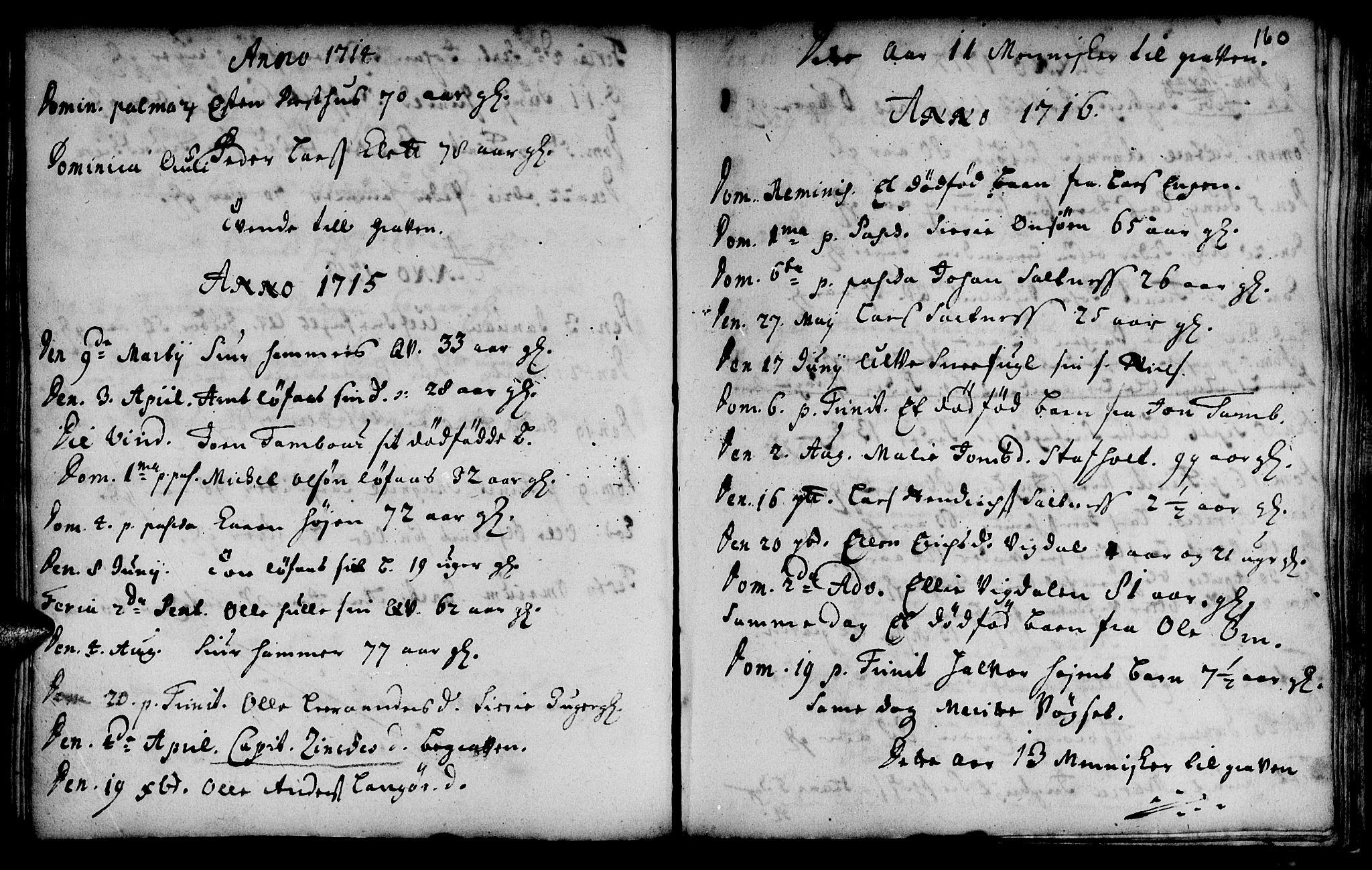 SAT, Ministerialprotokoller, klokkerbøker og fødselsregistre - Sør-Trøndelag, 666/L0783: Ministerialbok nr. 666A01, 1702-1753, s. 160