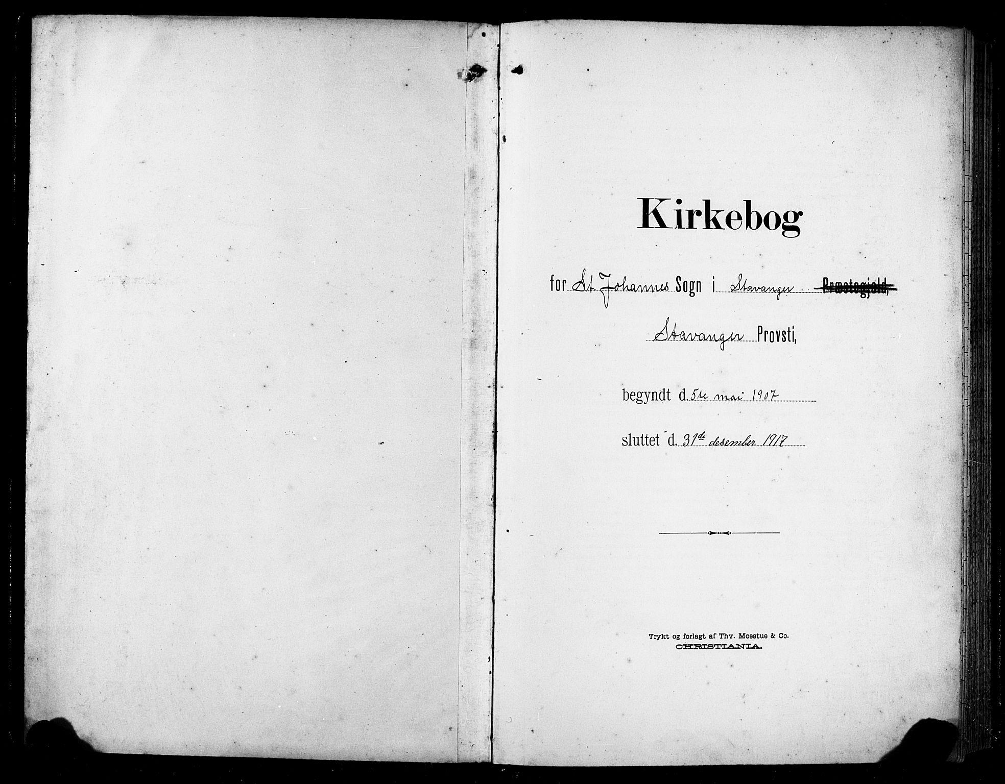 SAST, St. Johannes sokneprestkontor, 30/30BB: Klokkerbok nr. B 6, 1907-1917