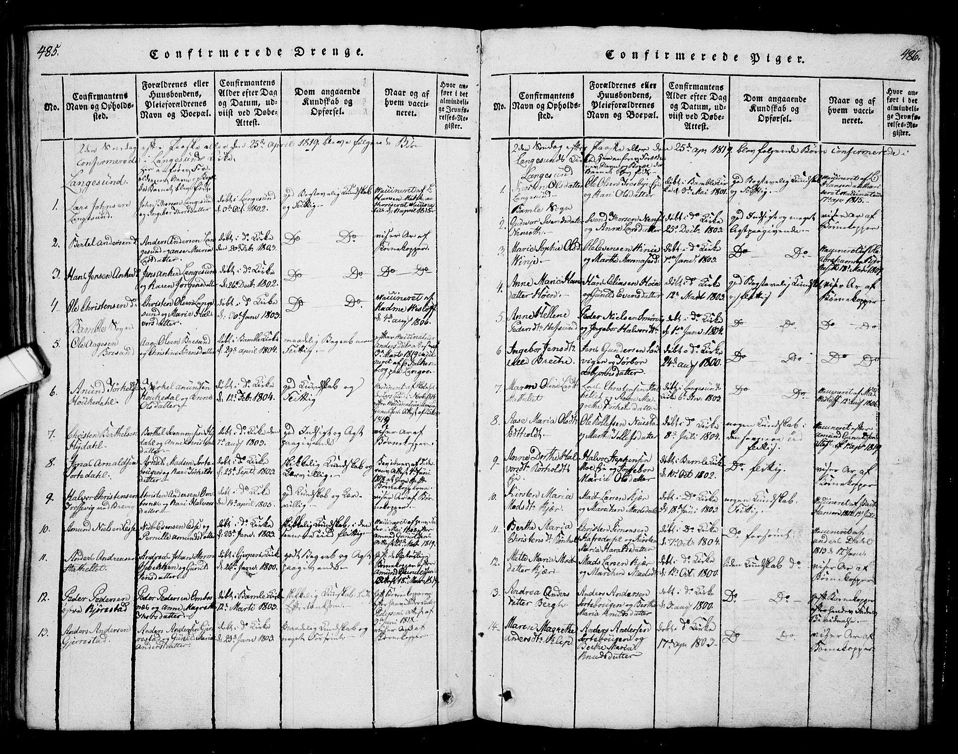 SAKO, Bamble kirkebøker, G/Ga/L0005: Klokkerbok nr. I 5, 1814-1855, s. 485-486