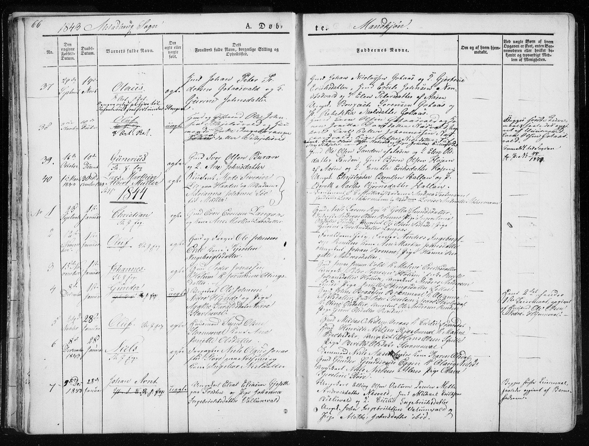 SAT, Ministerialprotokoller, klokkerbøker og fødselsregistre - Nord-Trøndelag, 717/L0154: Ministerialbok nr. 717A06 /1, 1836-1849, s. 66