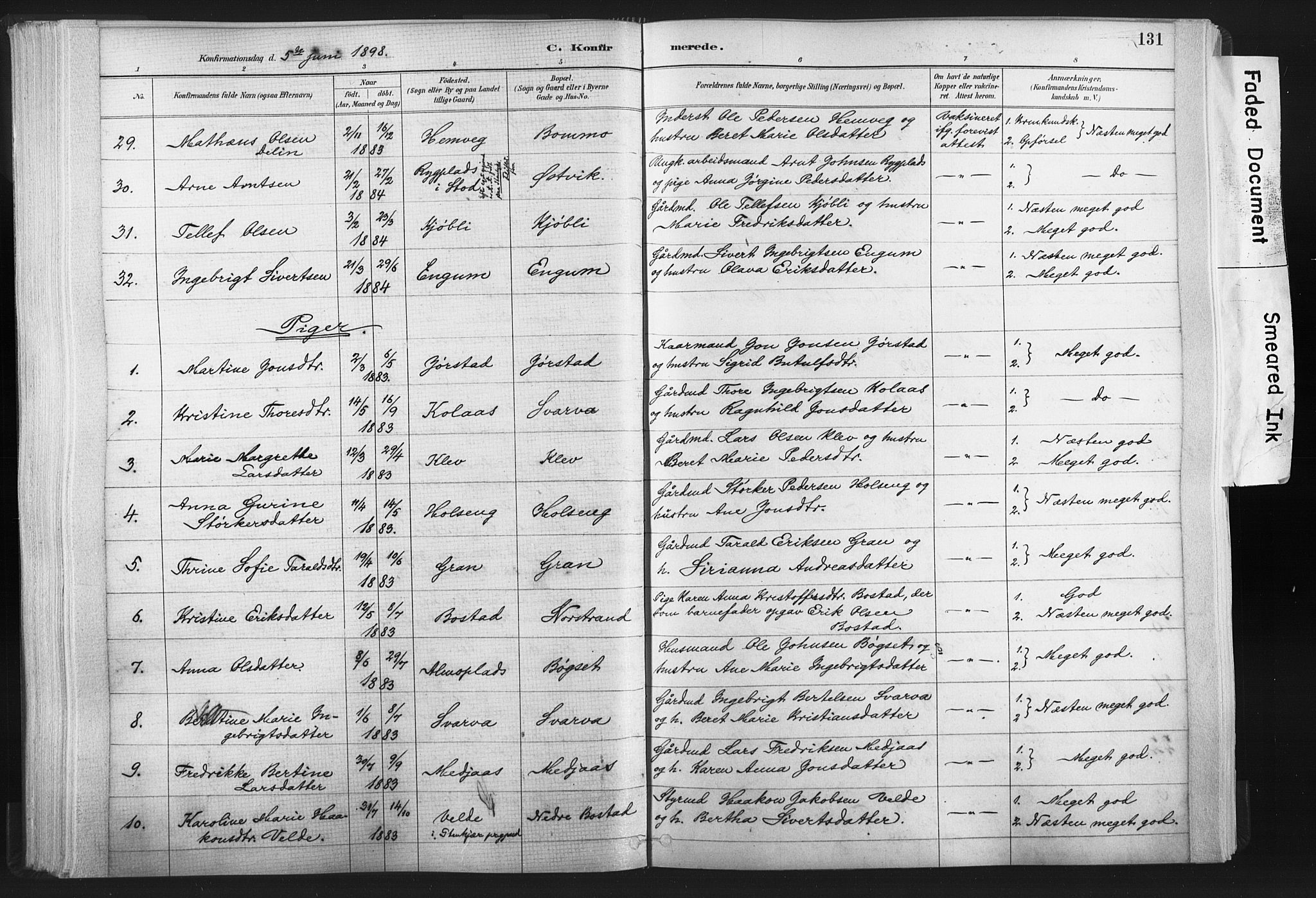 SAT, Ministerialprotokoller, klokkerbøker og fødselsregistre - Nord-Trøndelag, 749/L0474: Ministerialbok nr. 749A08, 1887-1903, s. 131