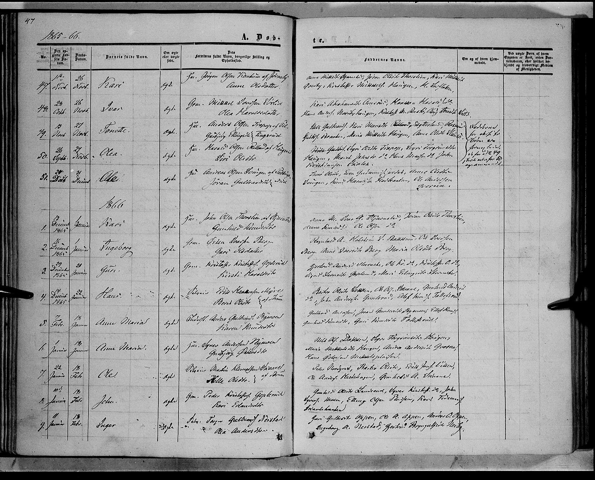 SAH, Sør-Aurdal prestekontor, Ministerialbok nr. 7, 1849-1876, s. 47
