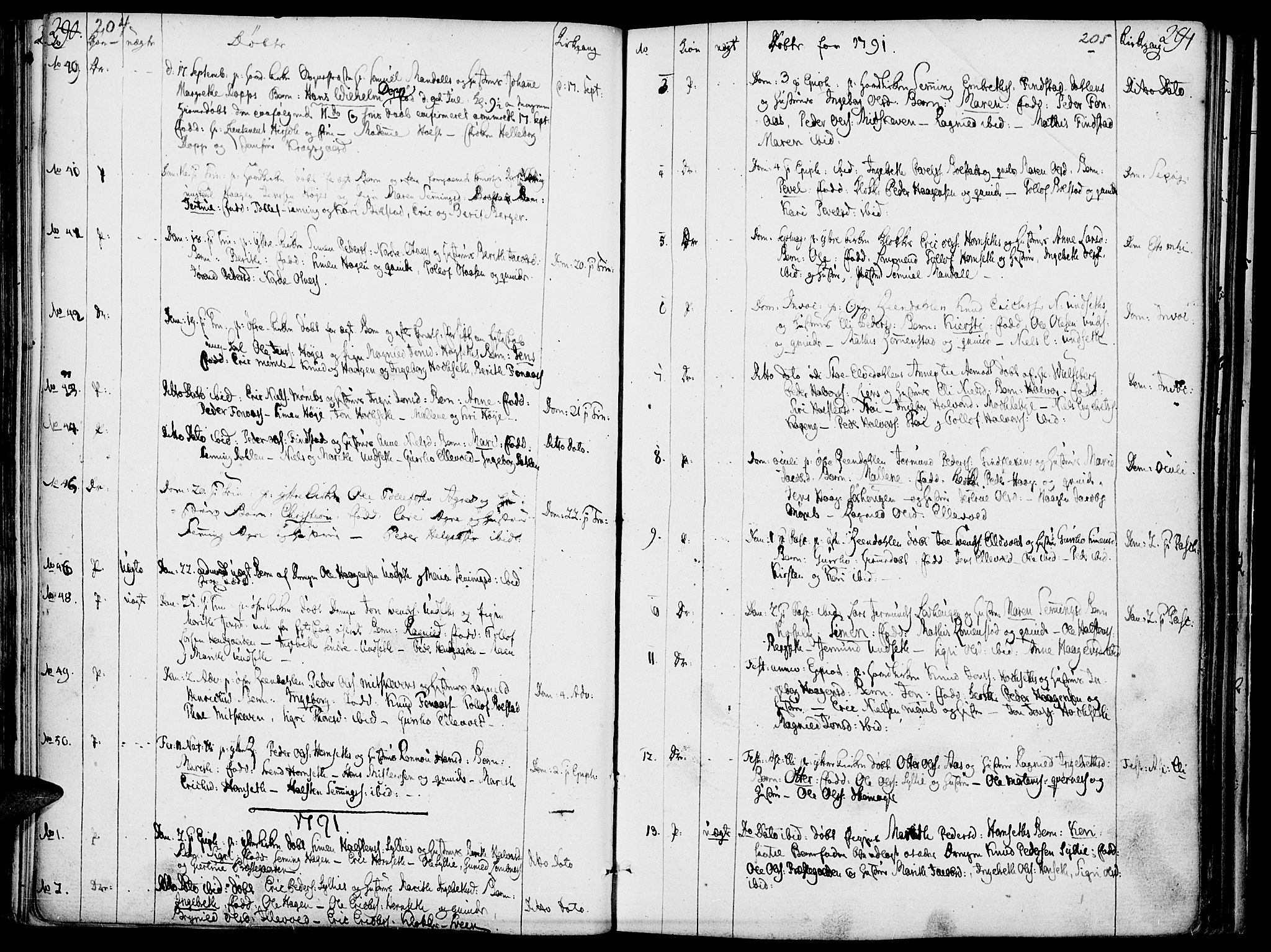SAH, Rendalen prestekontor, H/Ha/Haa/L0002: Ministerialbok nr. 2, 1788-1814, s. 204-205