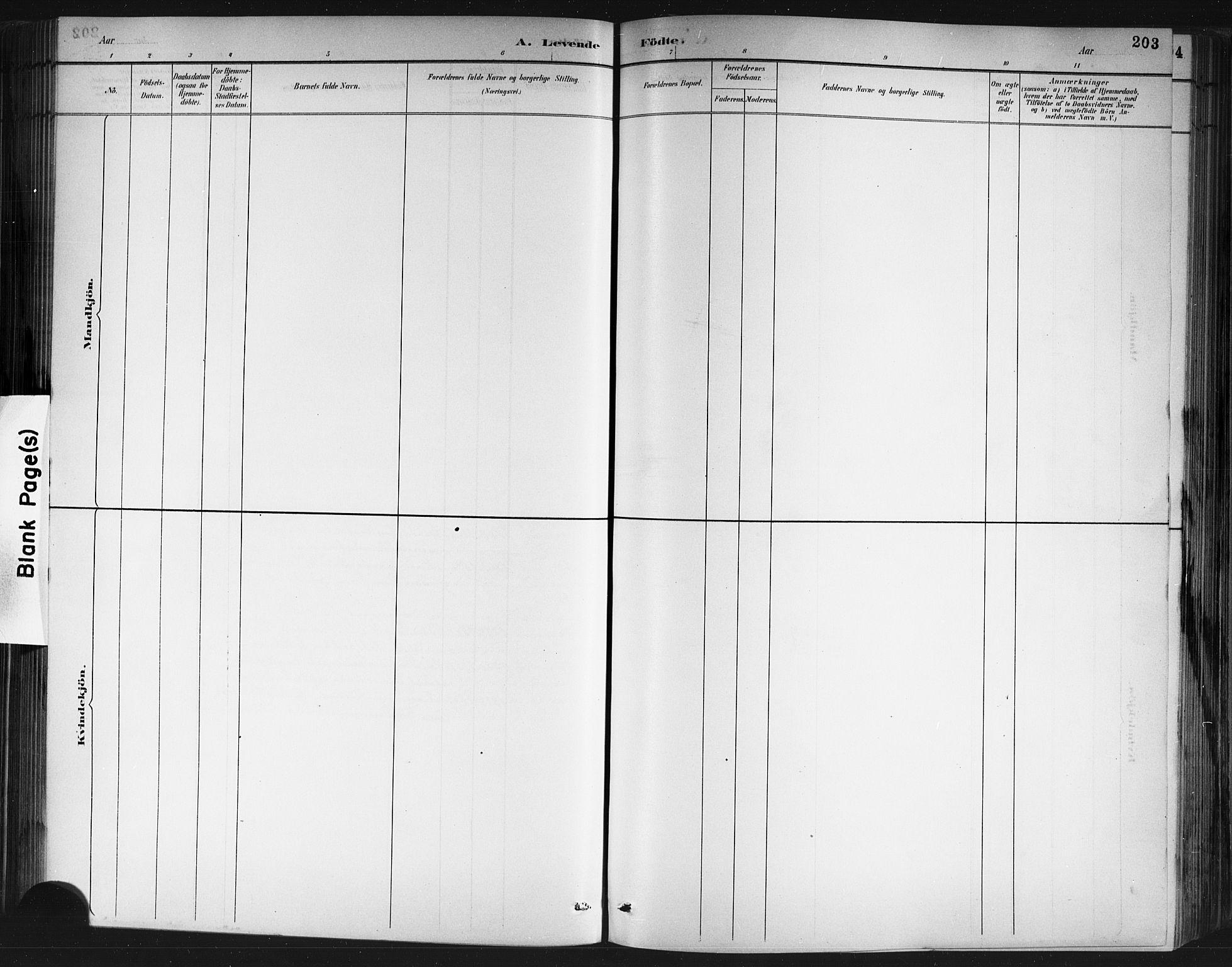 SAKO, Porsgrunn kirkebøker , G/Gb/L0005: Klokkerbok nr. II 5, 1883-1915, s. 203