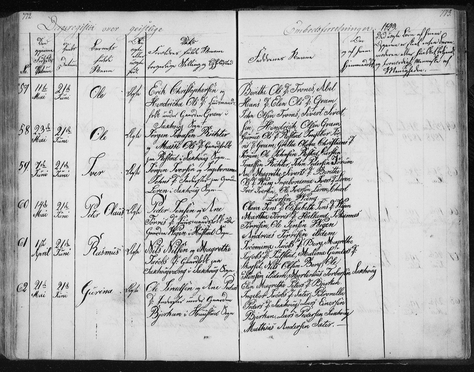 SAT, Ministerialprotokoller, klokkerbøker og fødselsregistre - Nord-Trøndelag, 730/L0276: Ministerialbok nr. 730A05, 1822-1830, s. 772-773