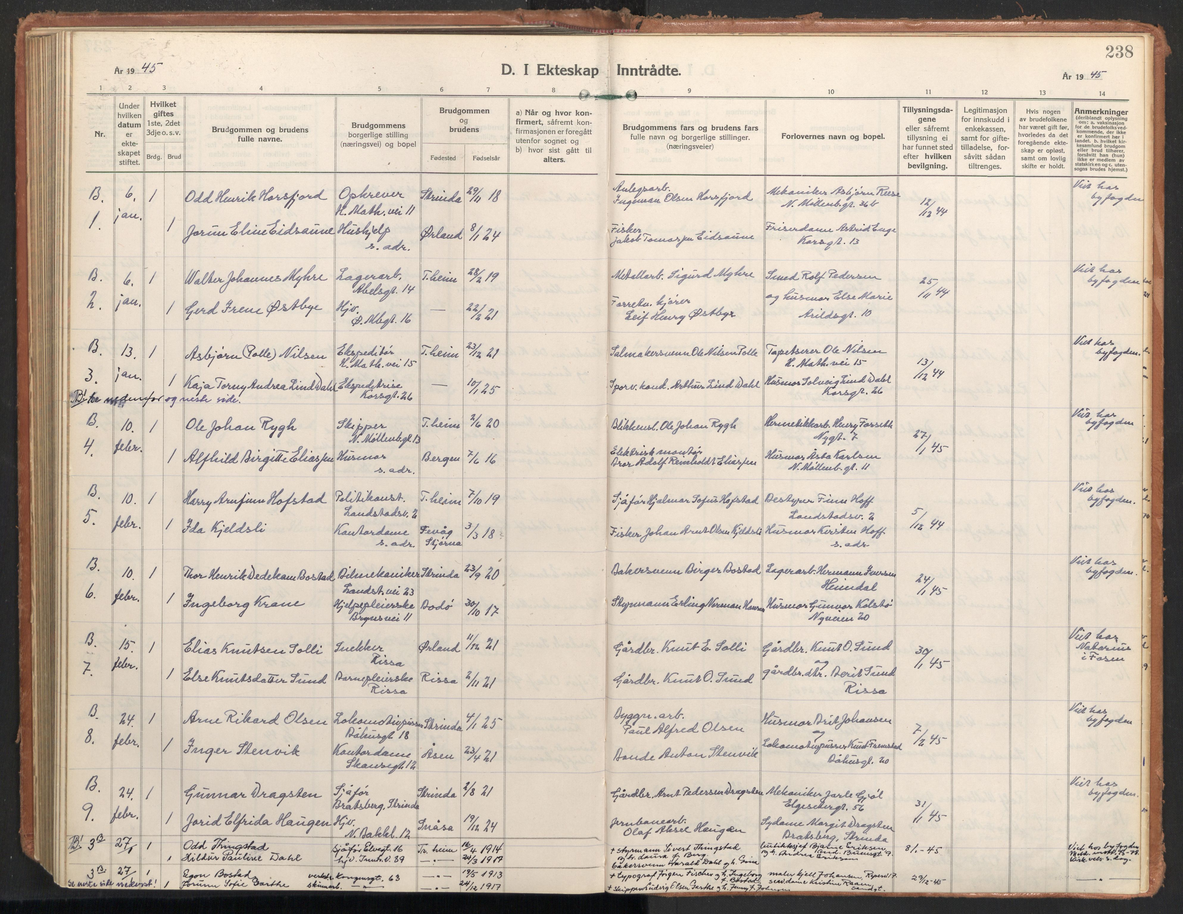 SAT, Ministerialprotokoller, klokkerbøker og fødselsregistre - Sør-Trøndelag, 604/L0209: Ministerialbok nr. 604A29, 1931-1945, s. 238