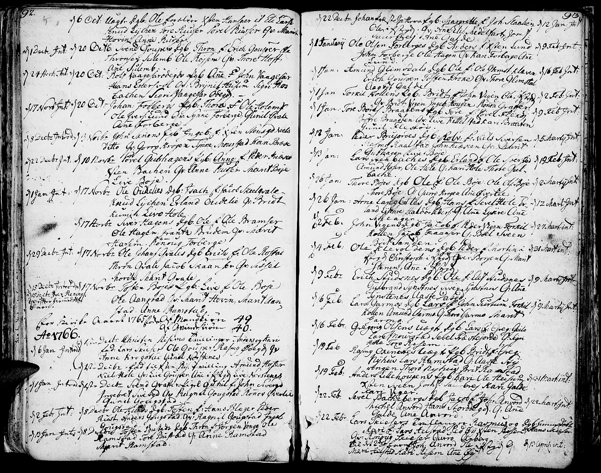SAH, Lom prestekontor, K/L0002: Ministerialbok nr. 2, 1749-1801, s. 92-93
