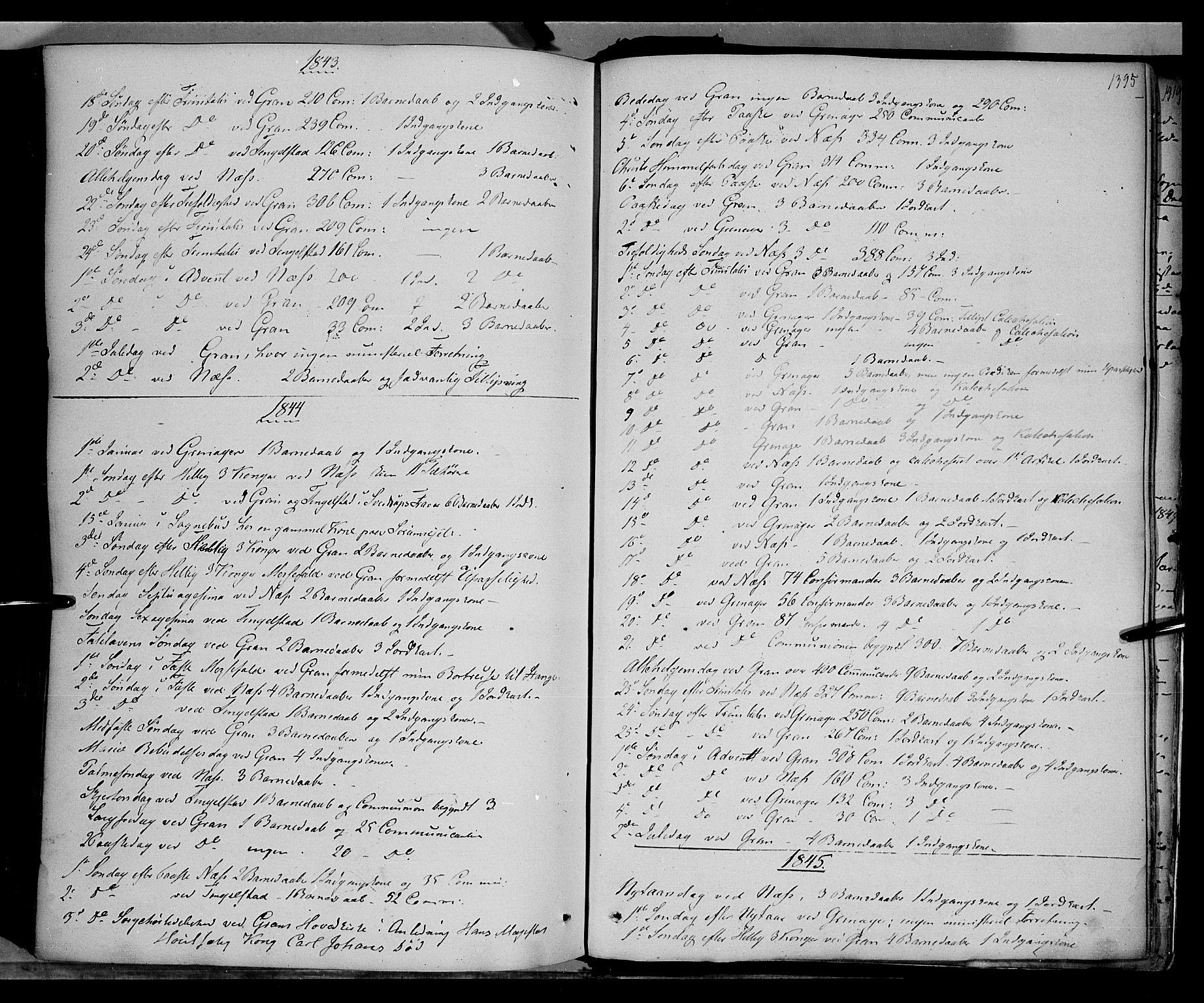 SAH, Gran prestekontor, Ministerialbok nr. 11, 1842-1856, s. 1394-1395