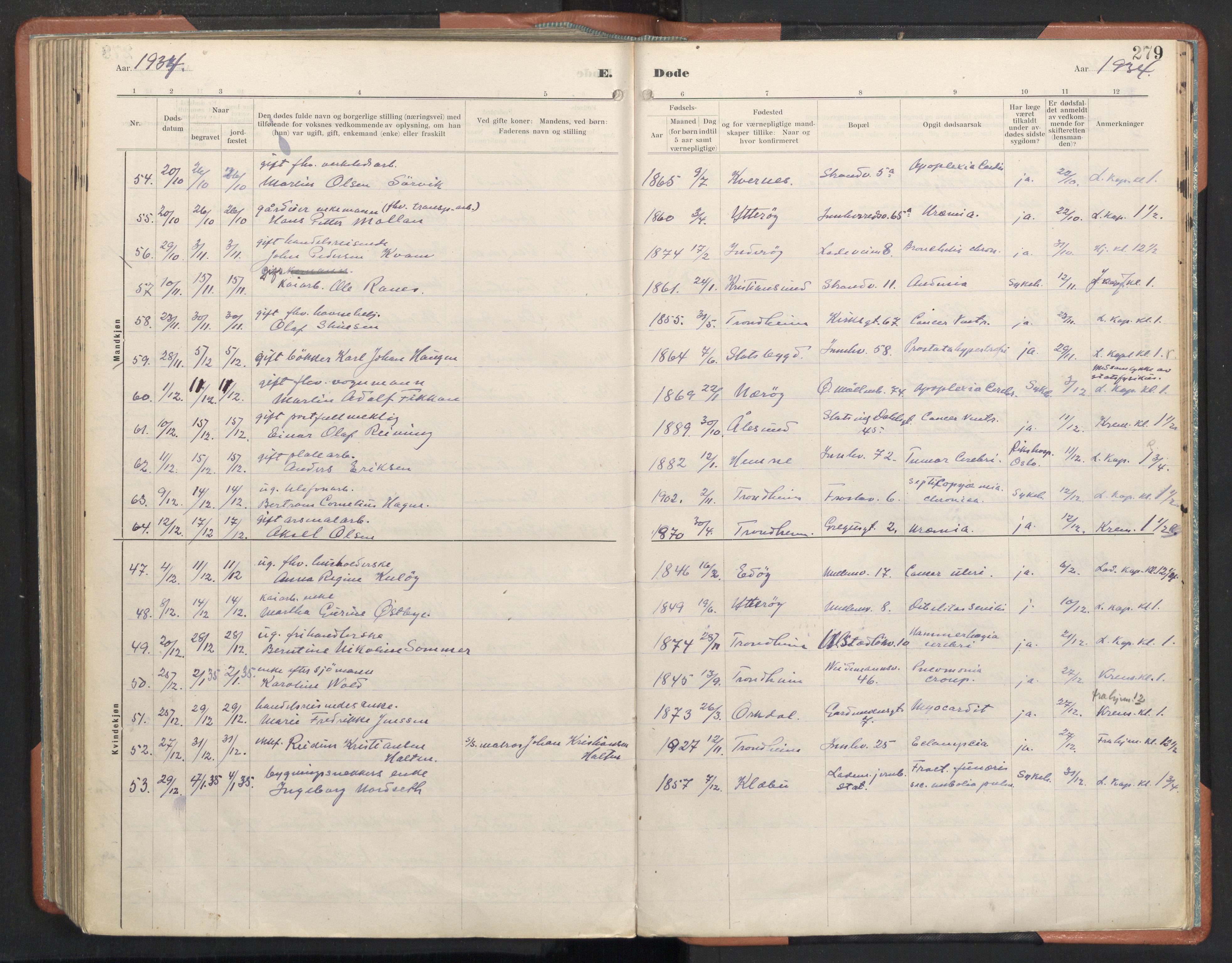 SAT, Ministerialprotokoller, klokkerbøker og fødselsregistre - Sør-Trøndelag, 605/L0245: Ministerialbok nr. 605A07, 1916-1938, s. 279