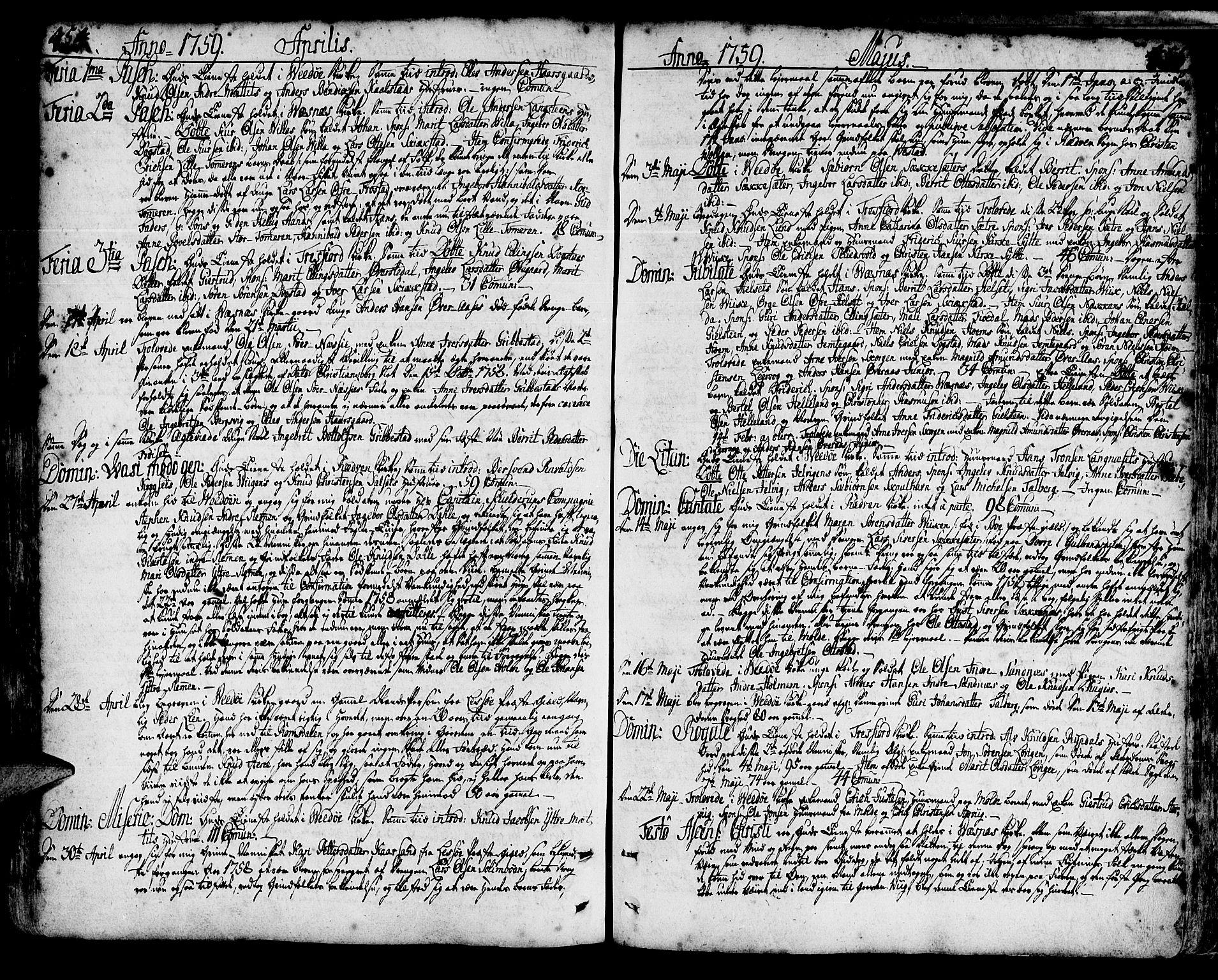 SAT, Ministerialprotokoller, klokkerbøker og fødselsregistre - Møre og Romsdal, 547/L0599: Ministerialbok nr. 547A01, 1721-1764, s. 454-455