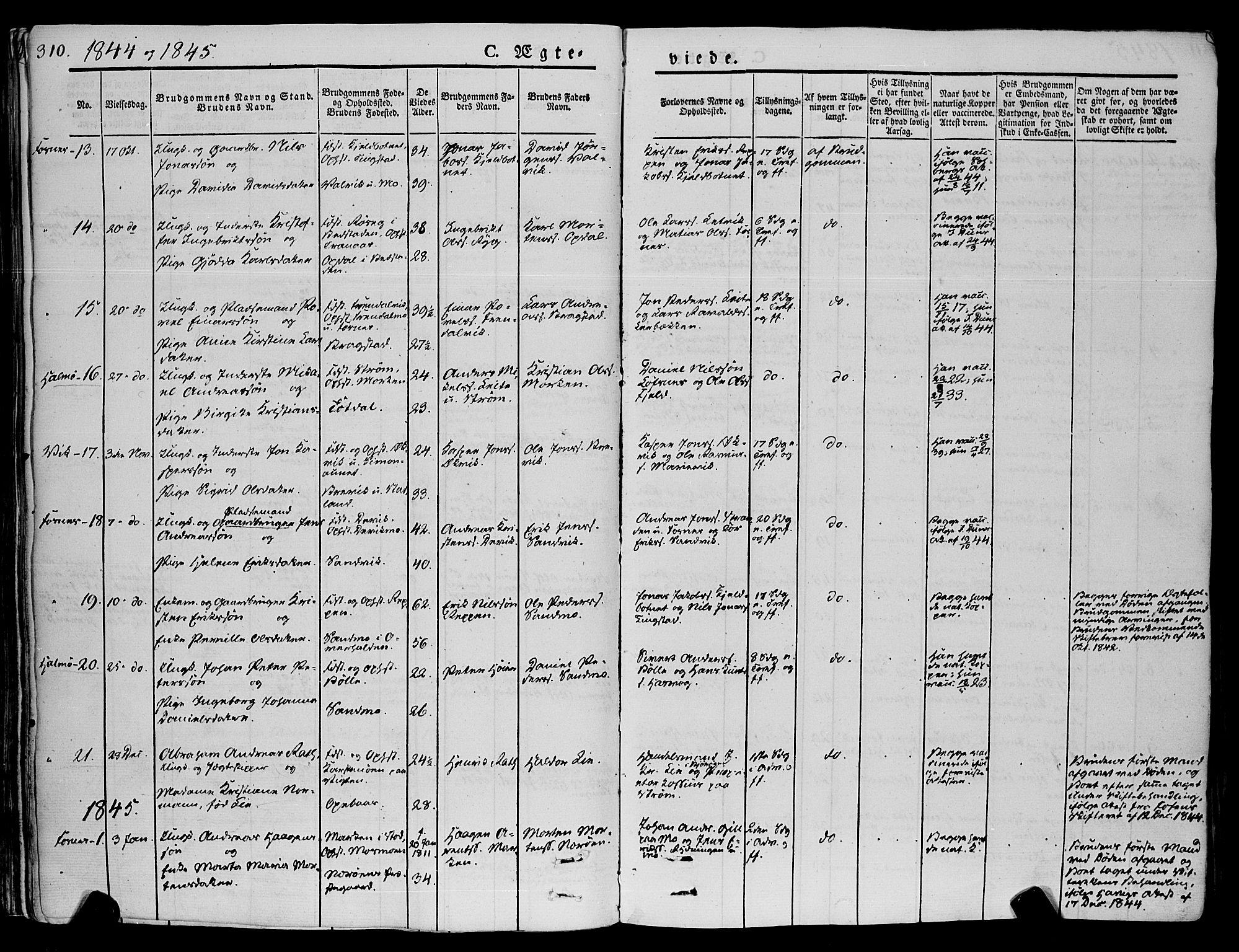 SAT, Ministerialprotokoller, klokkerbøker og fødselsregistre - Nord-Trøndelag, 773/L0614: Ministerialbok nr. 773A05, 1831-1856, s. 310