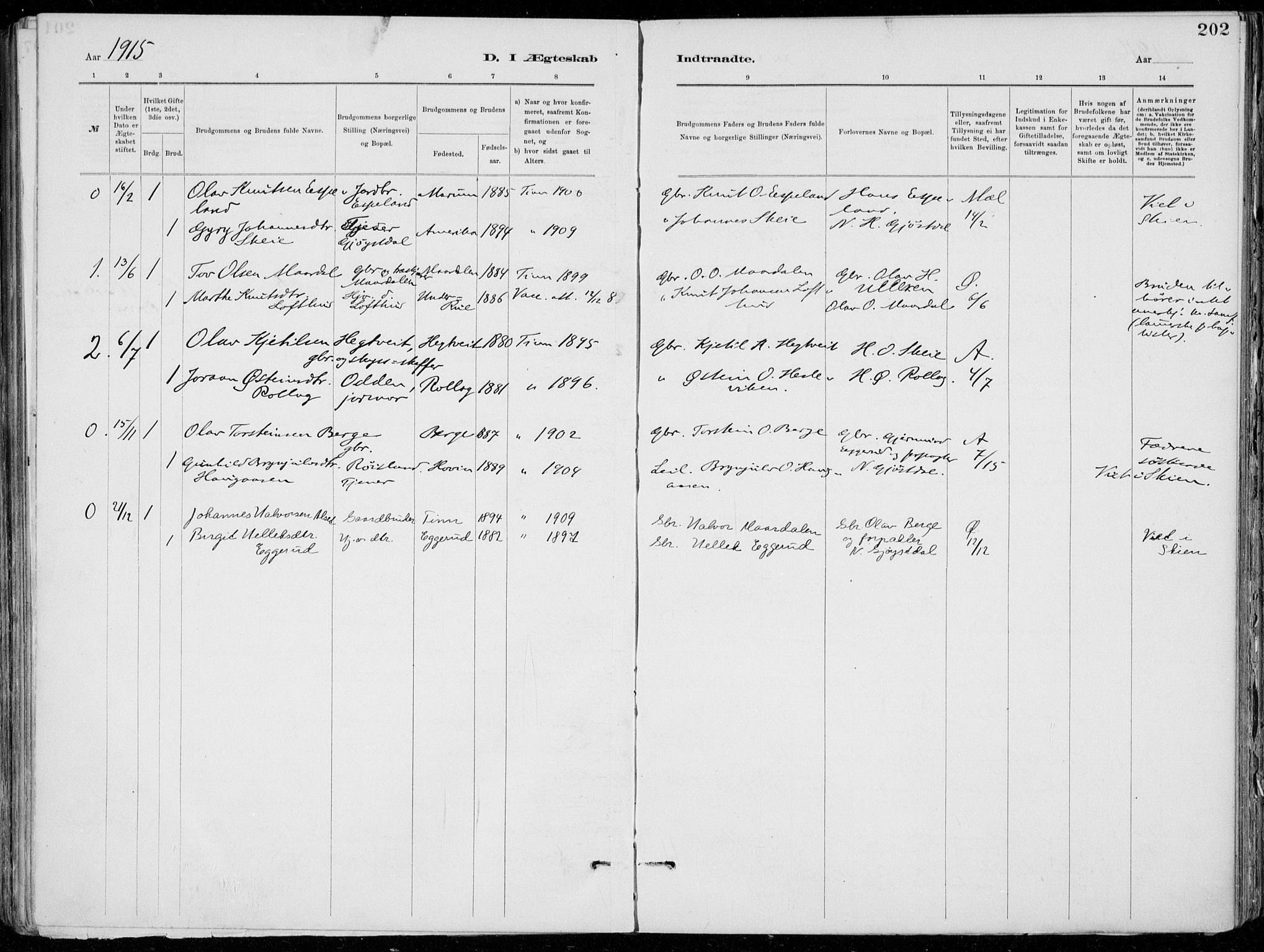 SAKO, Tinn kirkebøker, F/Fa/L0007: Ministerialbok nr. I 7, 1878-1922, s. 202