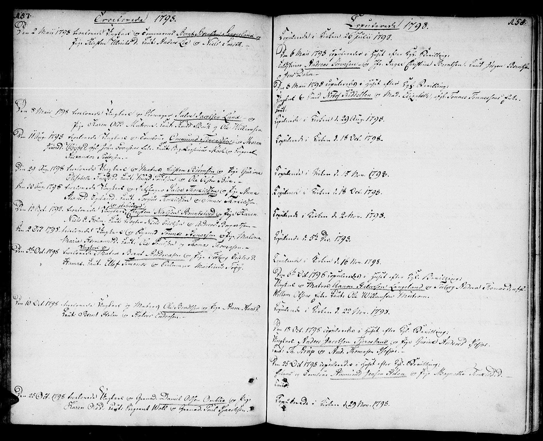 SAK, Kristiansand domprosti, F/Fa/L0005: Ministerialbok nr. A 5, 1776-1818, s. 157-158