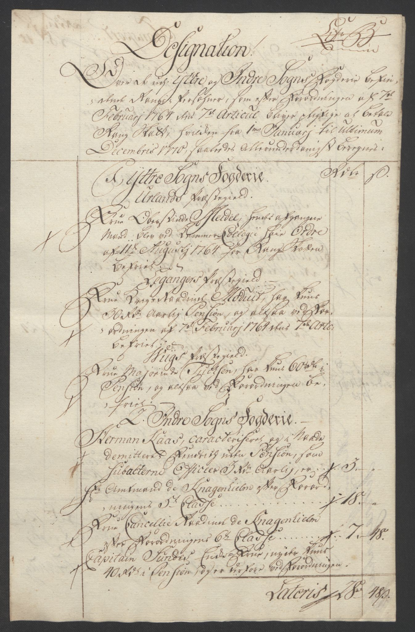 RA, Rentekammeret inntil 1814, Realistisk ordnet avdeling, Ol/L0018: [Gg 10]: Ekstraskatten, 23.09.1762. Sogn, 1762-1772, s. 271