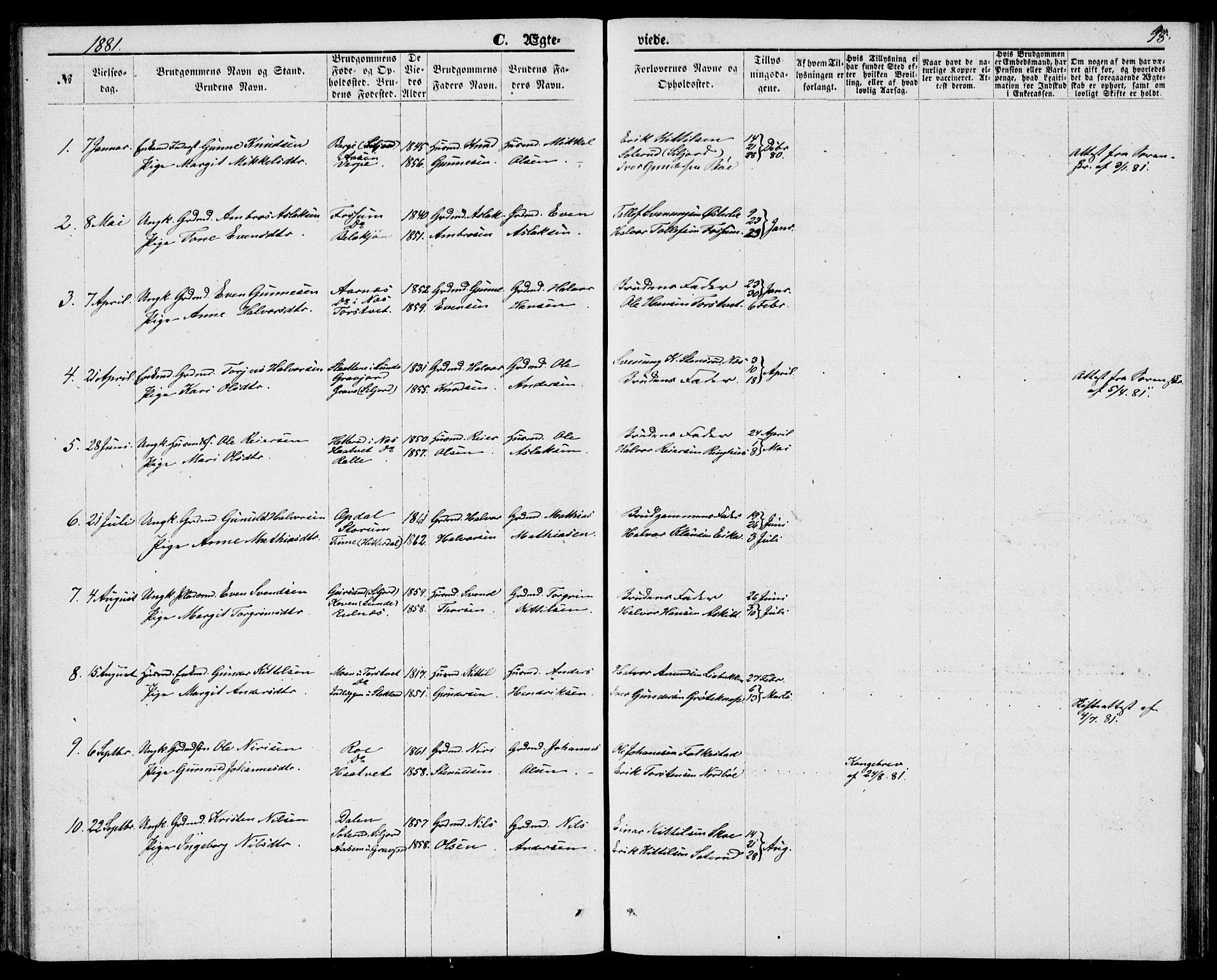 SAKO, Bø kirkebøker, G/Ga/L0004: Klokkerbok nr. 4, 1876-1882, s. 98