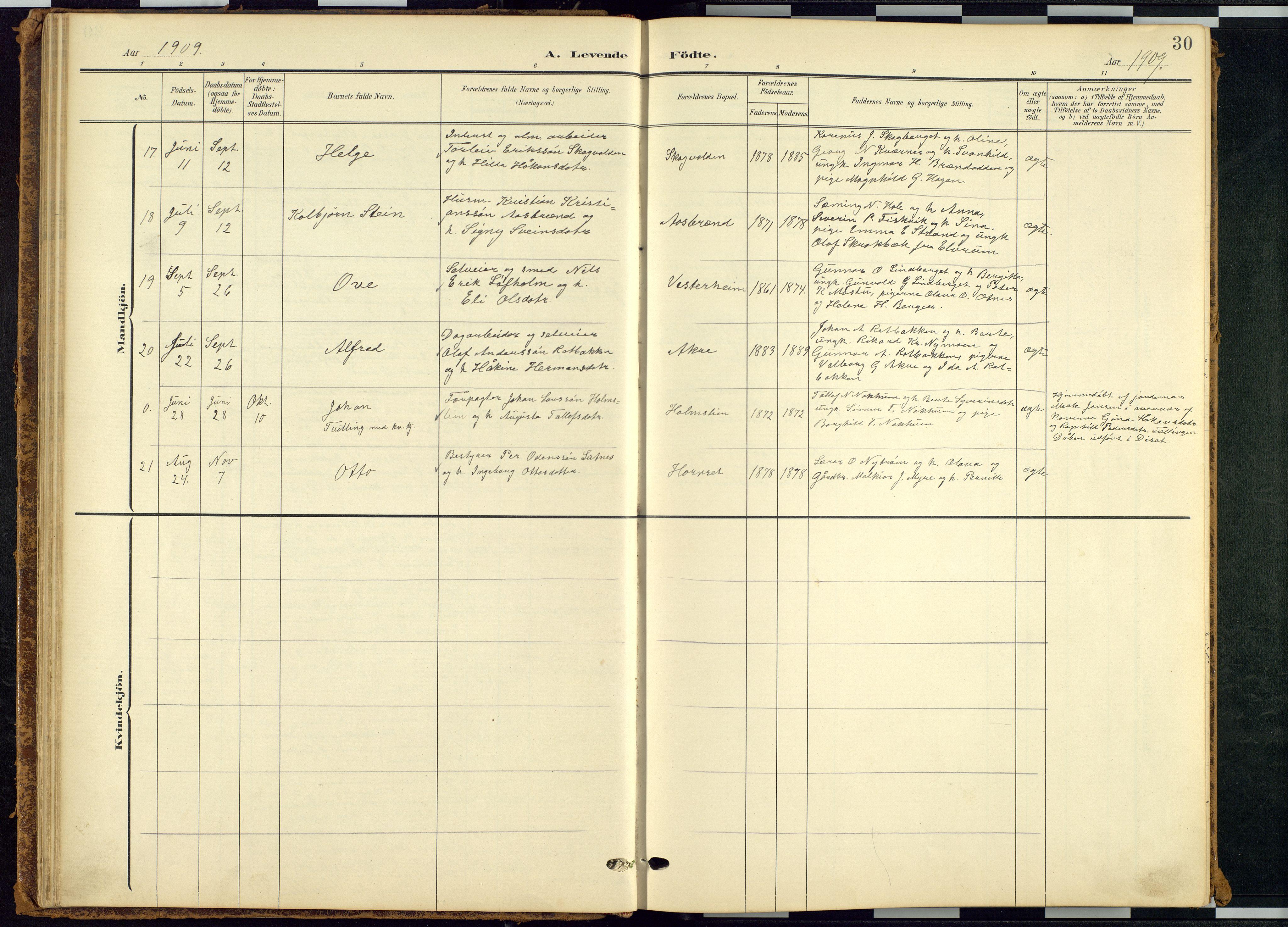 SAH, Rendalen prestekontor, H/Ha/Hab/L0010: Klokkerbok nr. 10, 1903-1940, s. 30