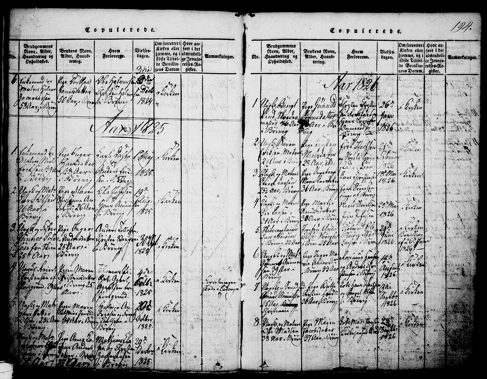 SAKO, Brevik kirkebøker, G/Ga/L0001: Klokkerbok nr. 1, 1814-1845, s. 194