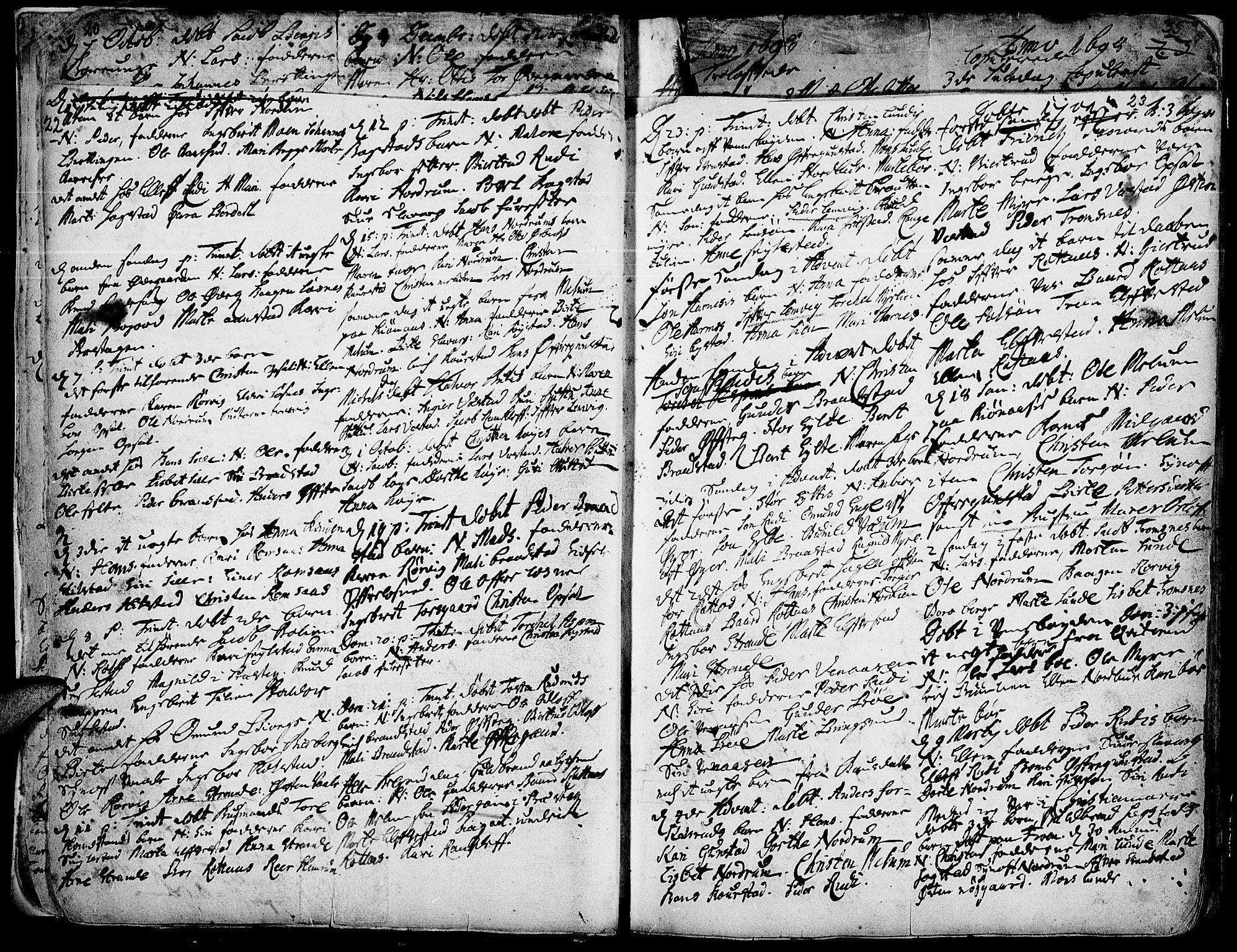 SAH, Ringebu prestekontor, Ministerialbok nr. 1, 1696-1733, s. 22-23