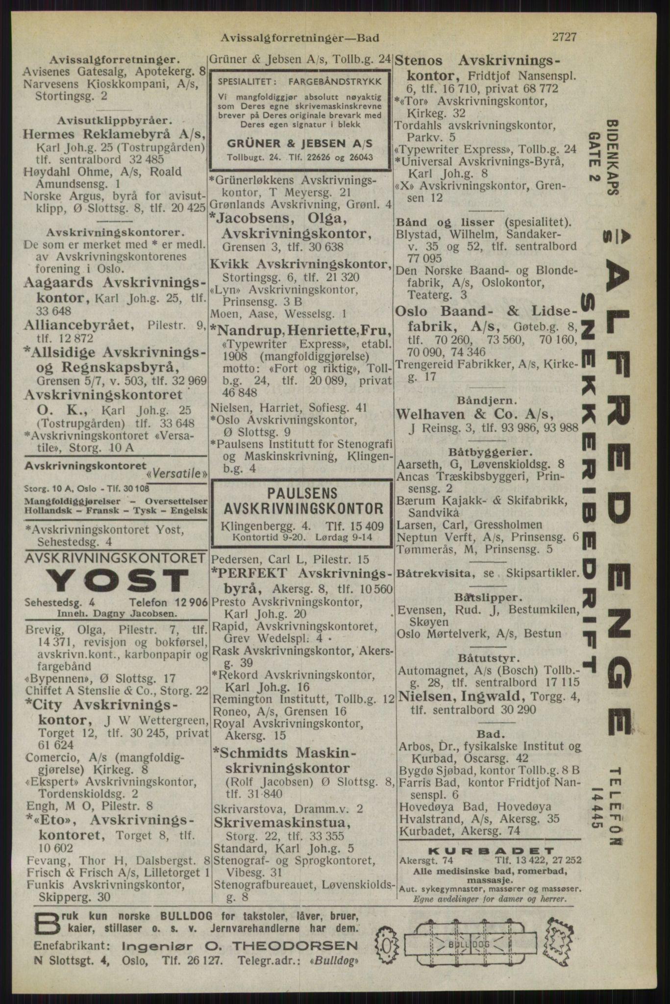RA, Oslo adressebok (publikasjon)*, 1944, s. 2727