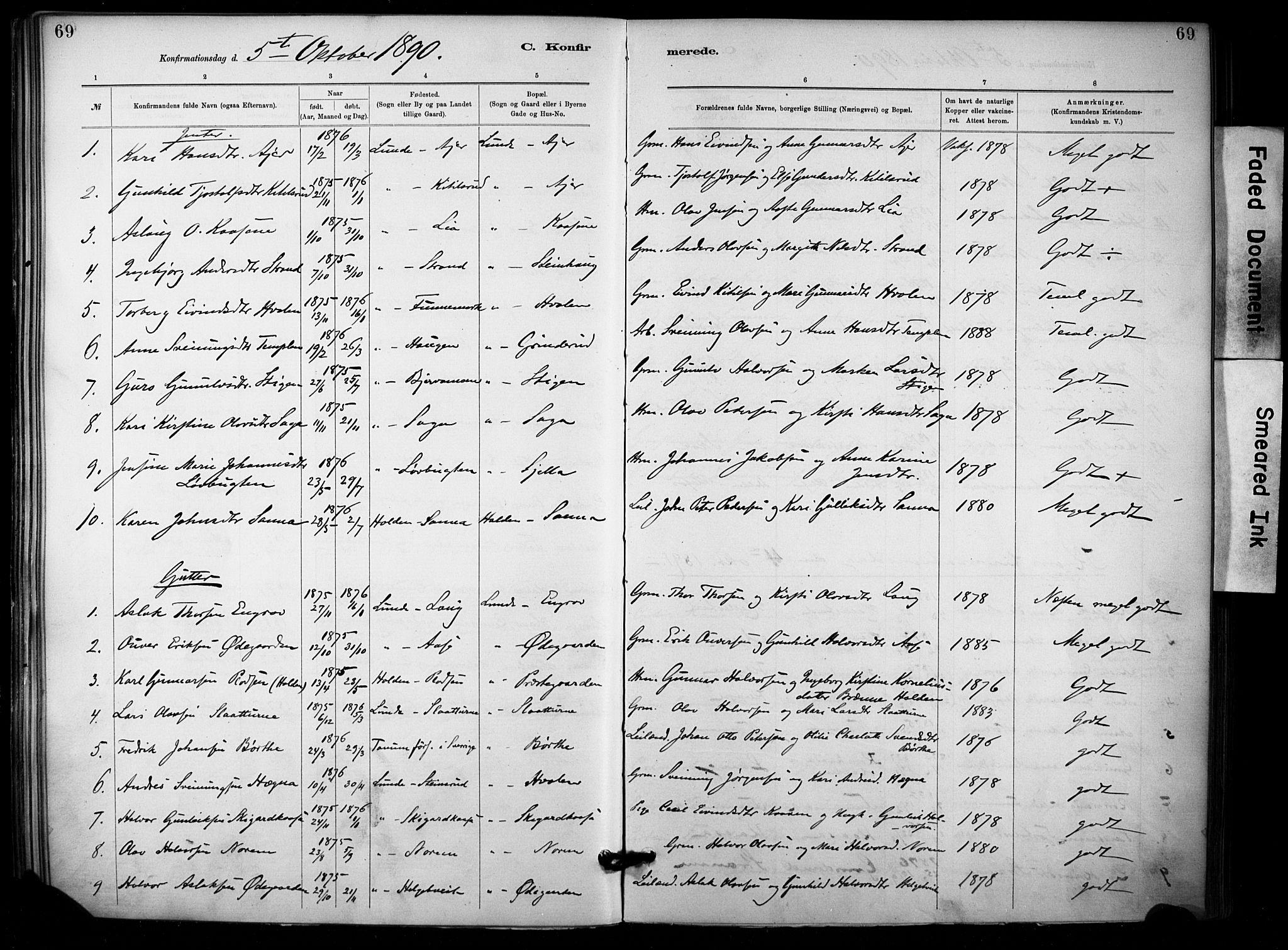 SAKO, Lunde kirkebøker, F/Fa/L0002: Ministerialbok nr. I 2, 1884-1892, s. 69