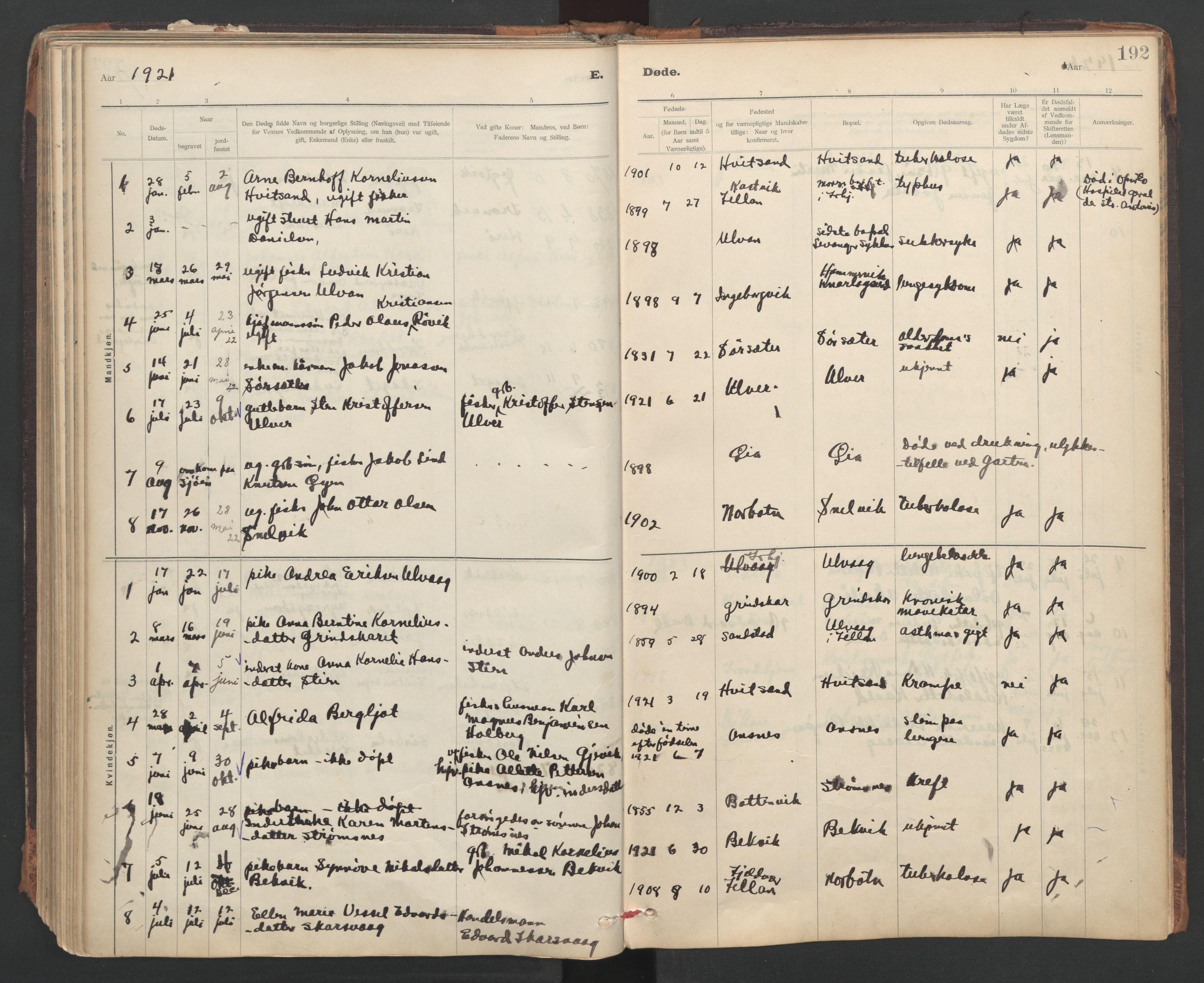 SAT, Ministerialprotokoller, klokkerbøker og fødselsregistre - Sør-Trøndelag, 637/L0559: Ministerialbok nr. 637A02, 1899-1923, s. 192