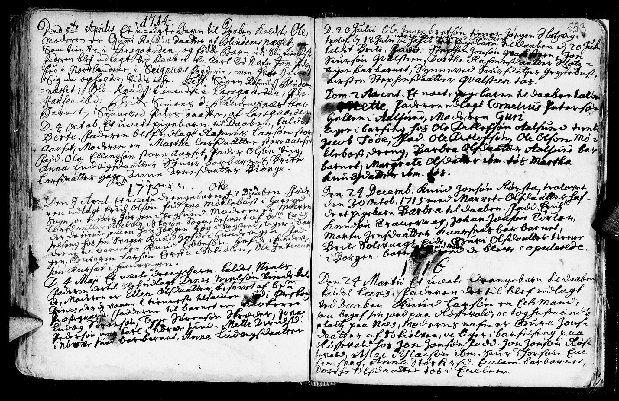 SAT, Ministerialprotokoller, klokkerbøker og fødselsregistre - Møre og Romsdal, 528/L0390: Ministerialbok nr. 528A01, 1698-1739, s. 552-553