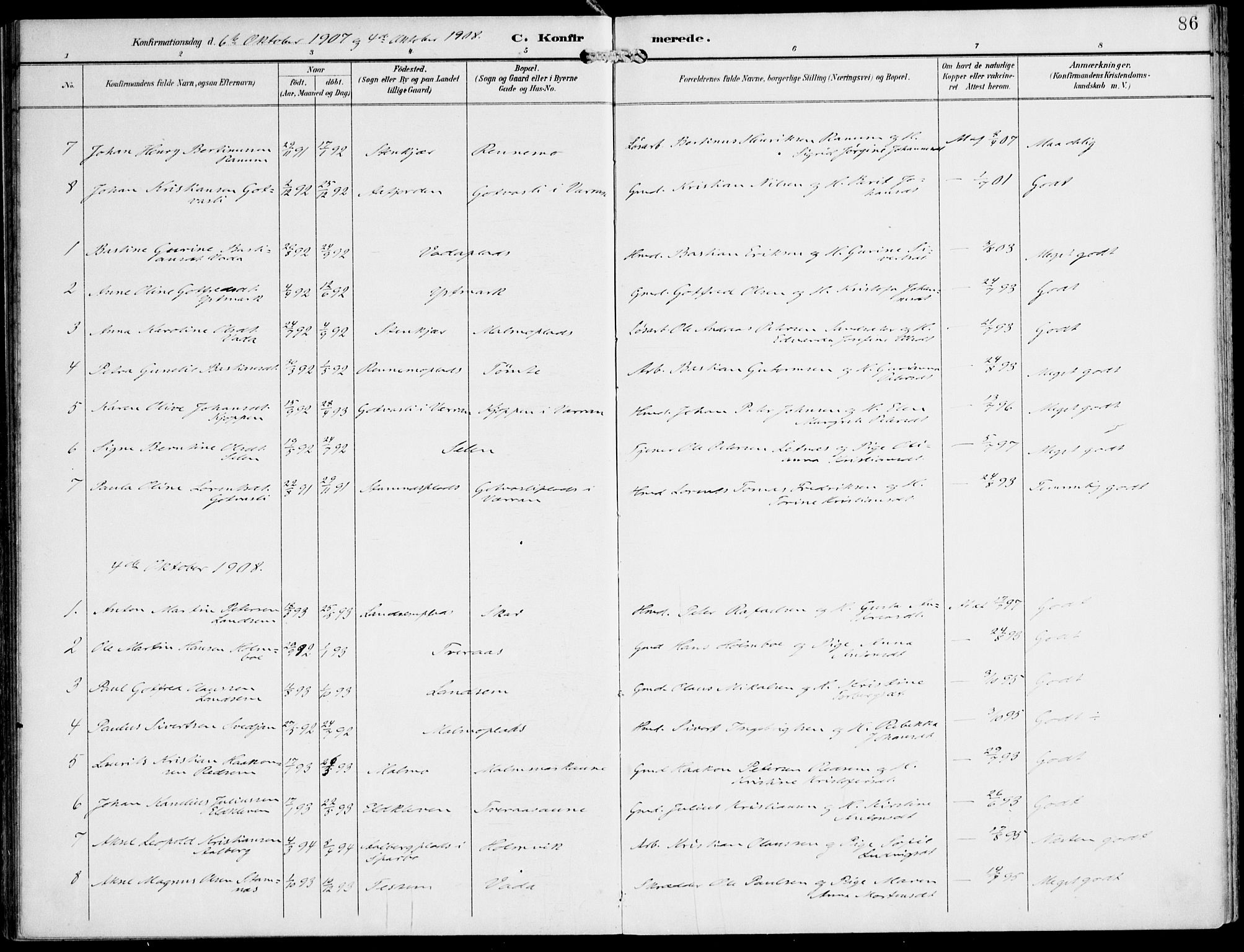 SAT, Ministerialprotokoller, klokkerbøker og fødselsregistre - Nord-Trøndelag, 745/L0430: Ministerialbok nr. 745A02, 1895-1913, s. 86